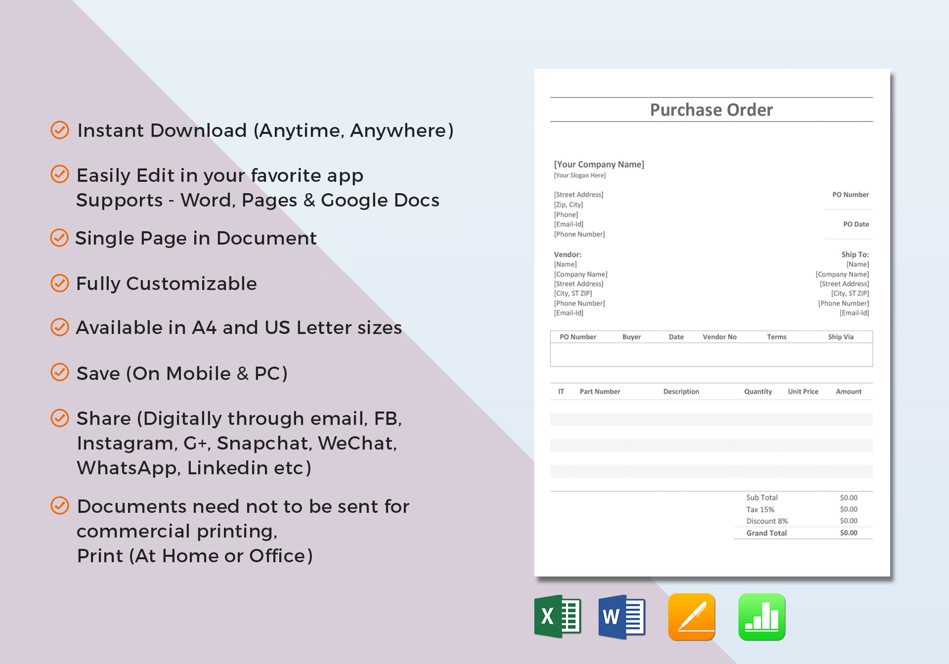 Simple purchase order template in word excel apple pages for Purchase order email template