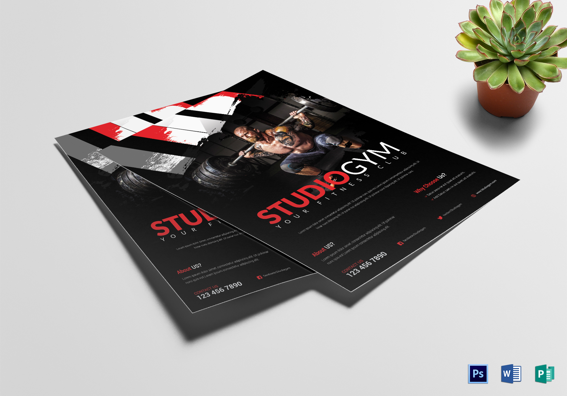 studio gym flyer design template in word psd publisher