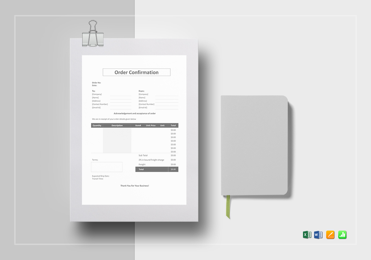 Order Confirmation Form | Order Confirmation Template In Word Excel Apple Pages Numbers