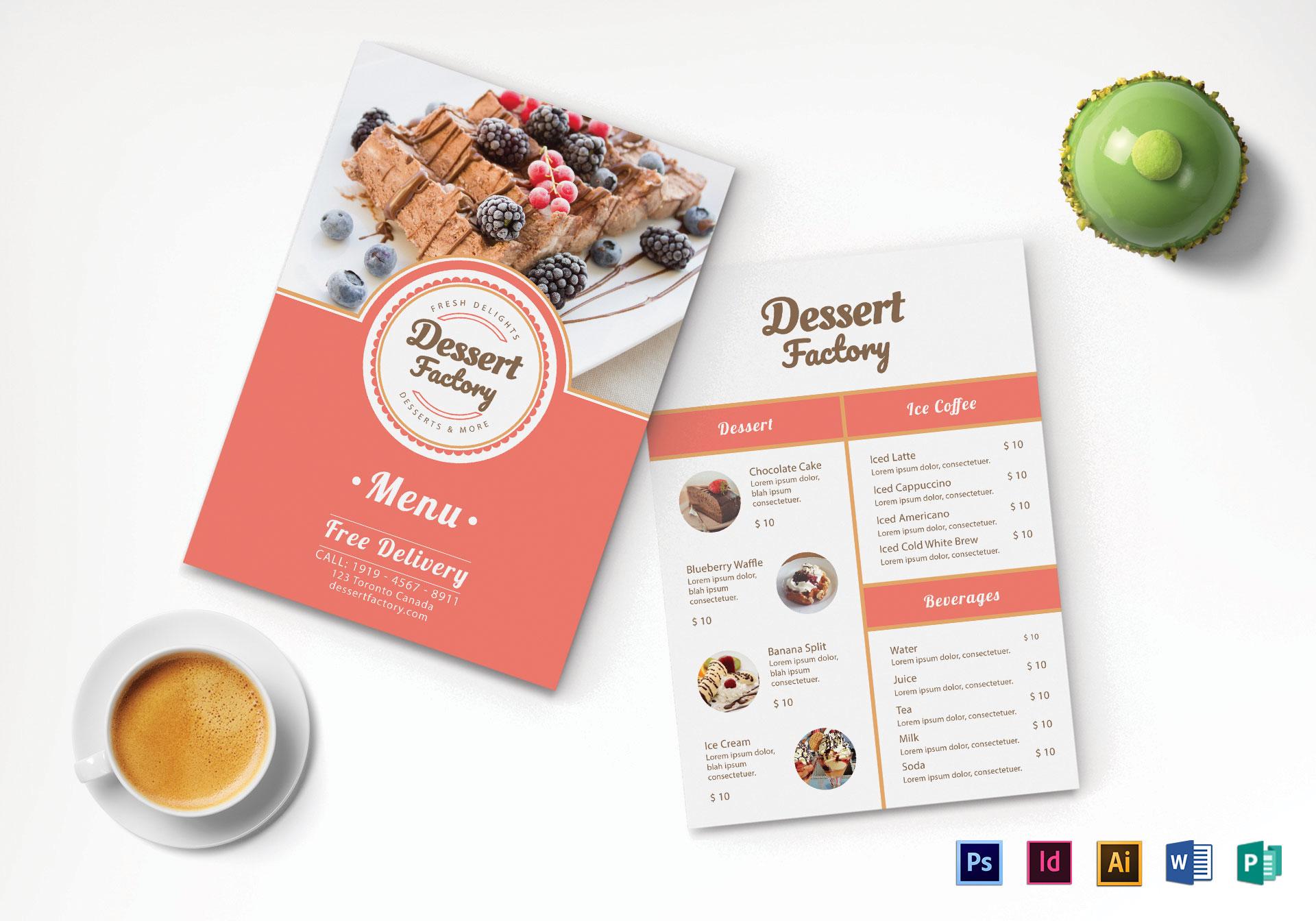 Elegant Dessert Menu Design Template in PSD, Word, Publisher ...