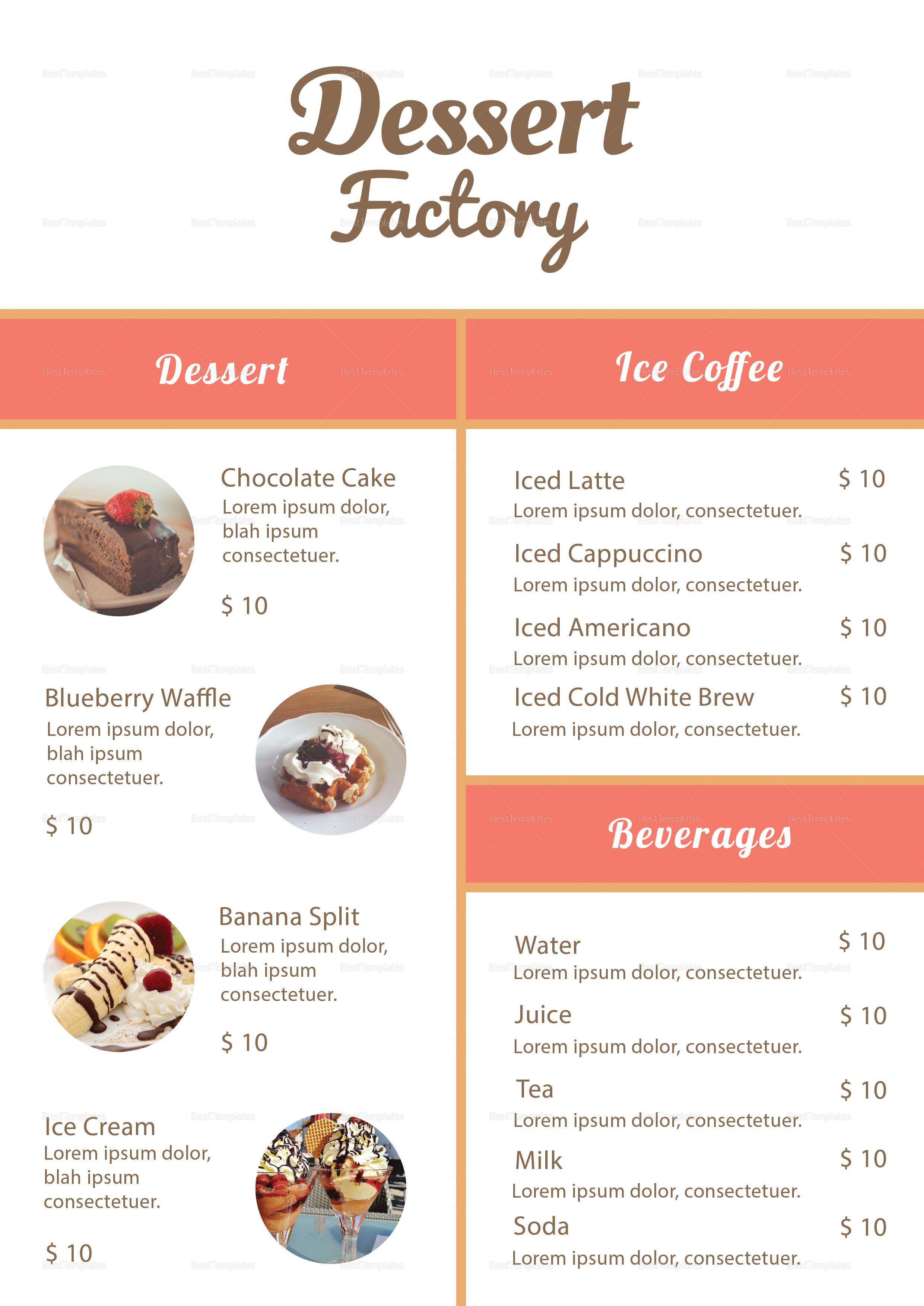 elegant dessert menu design template in psd word publisher illustrator indesign. Black Bedroom Furniture Sets. Home Design Ideas