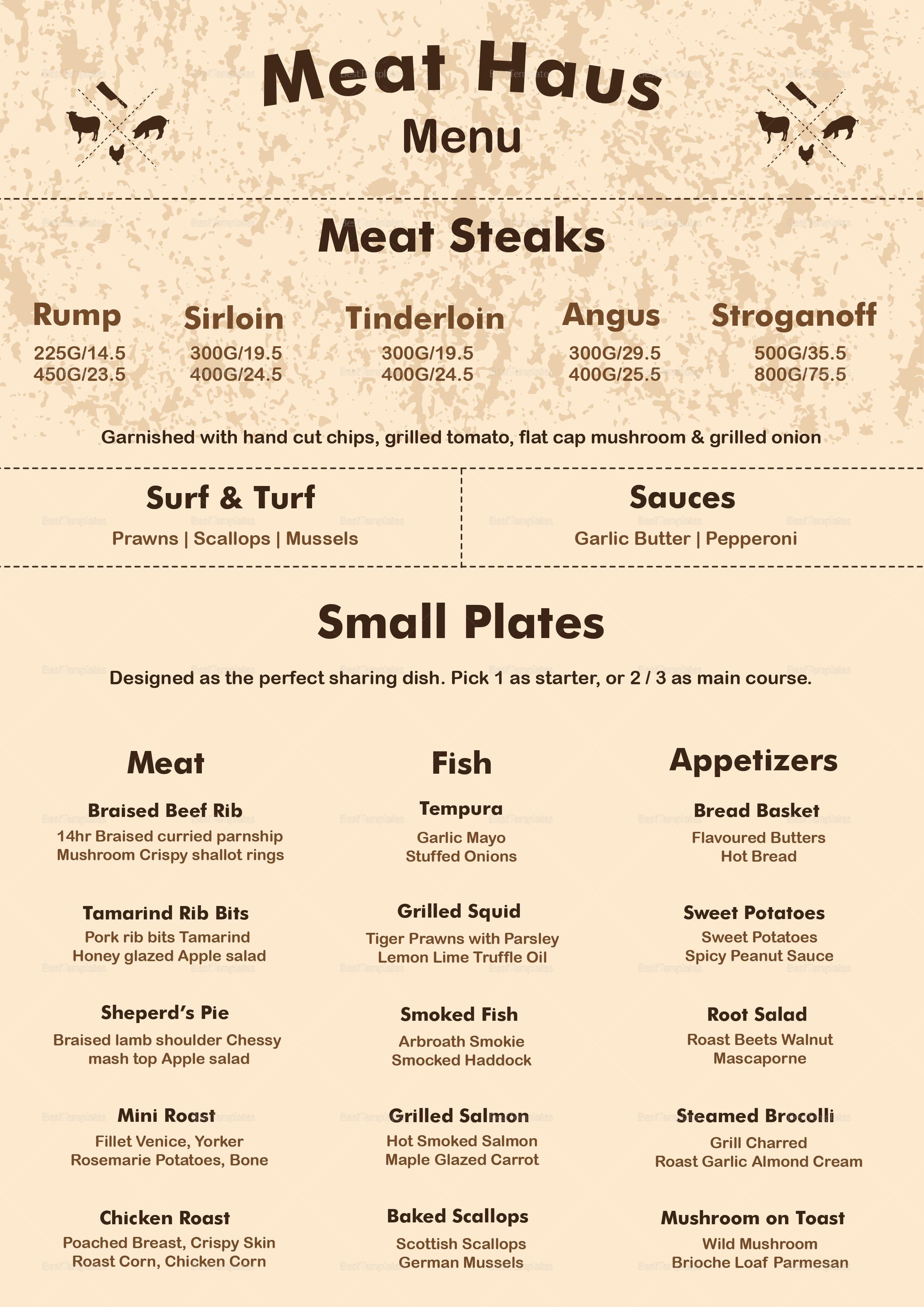Meat Menu Template