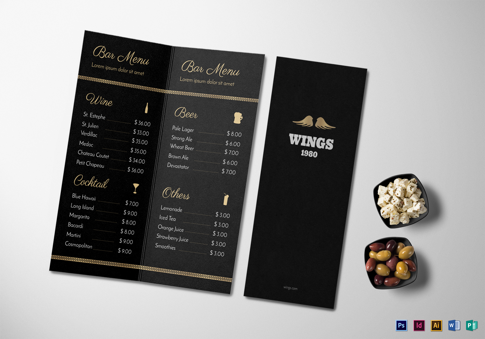 bar menu design template in psd word publisher illustrator indesign. Black Bedroom Furniture Sets. Home Design Ideas