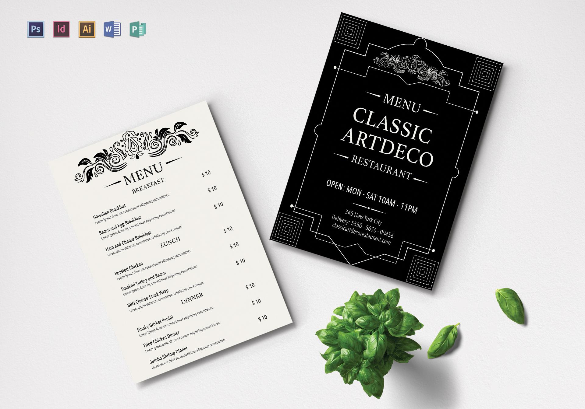 Art Deco Menu Design Template in PSD, Word, Publisher, Illustrator ...