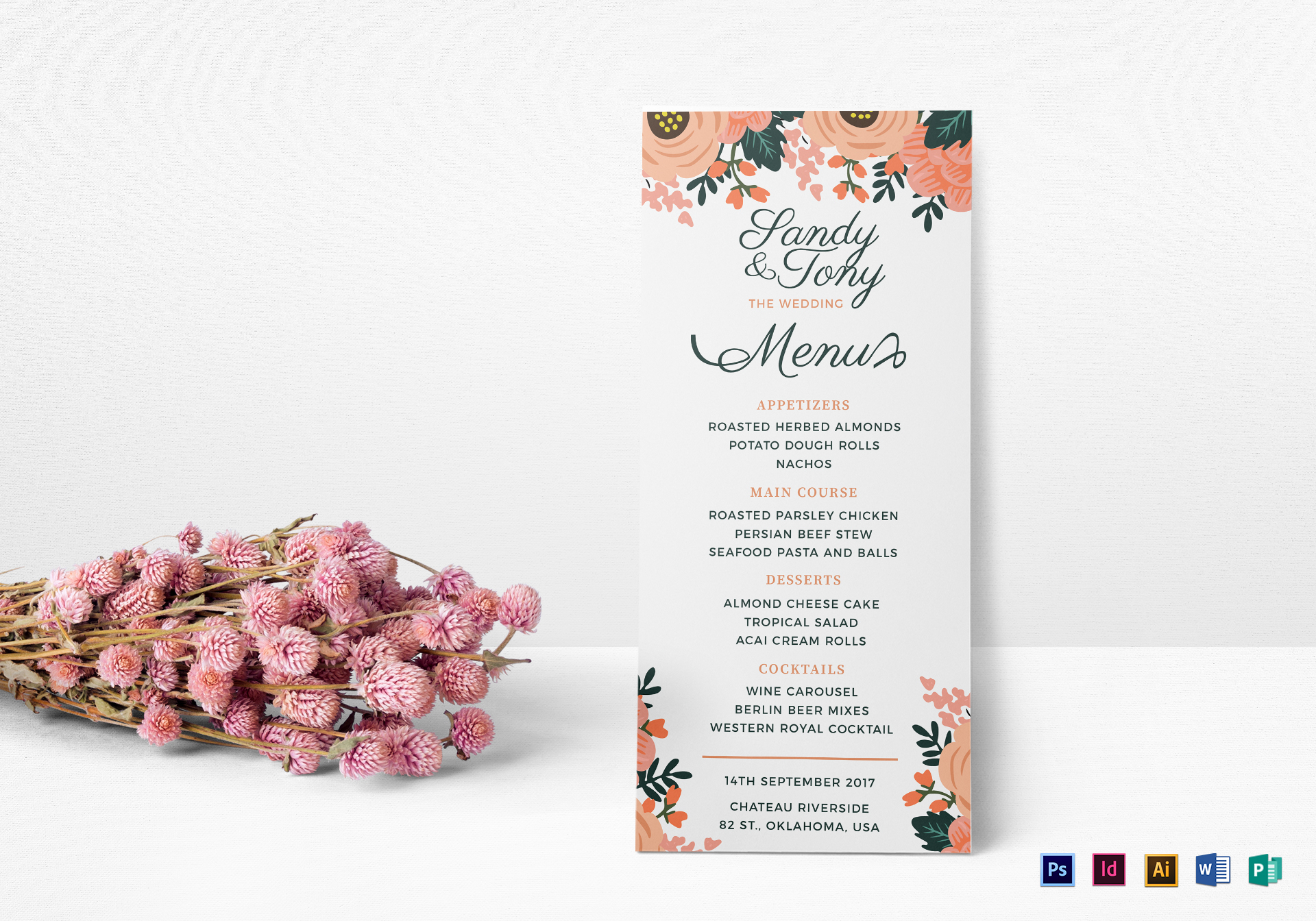 Wedding Menu Design Template in PSD Word Publisher Illustrator