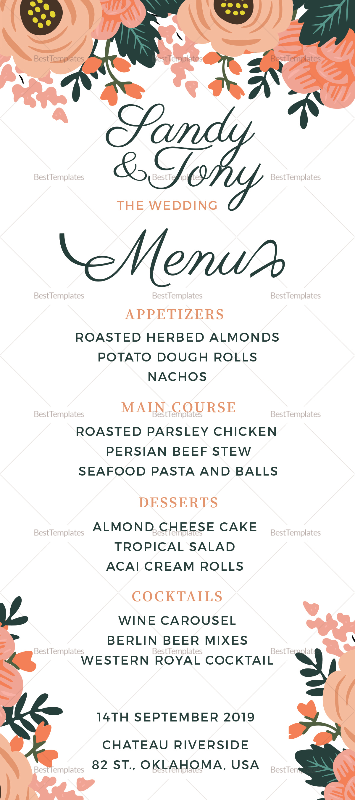 Wedding Menu Design Template