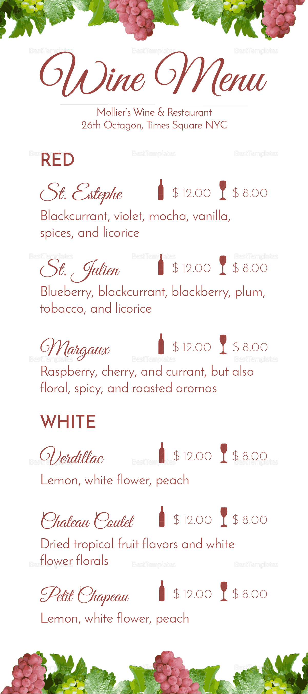 Wine menu design template in psd word publisher for Wine dinner menu template
