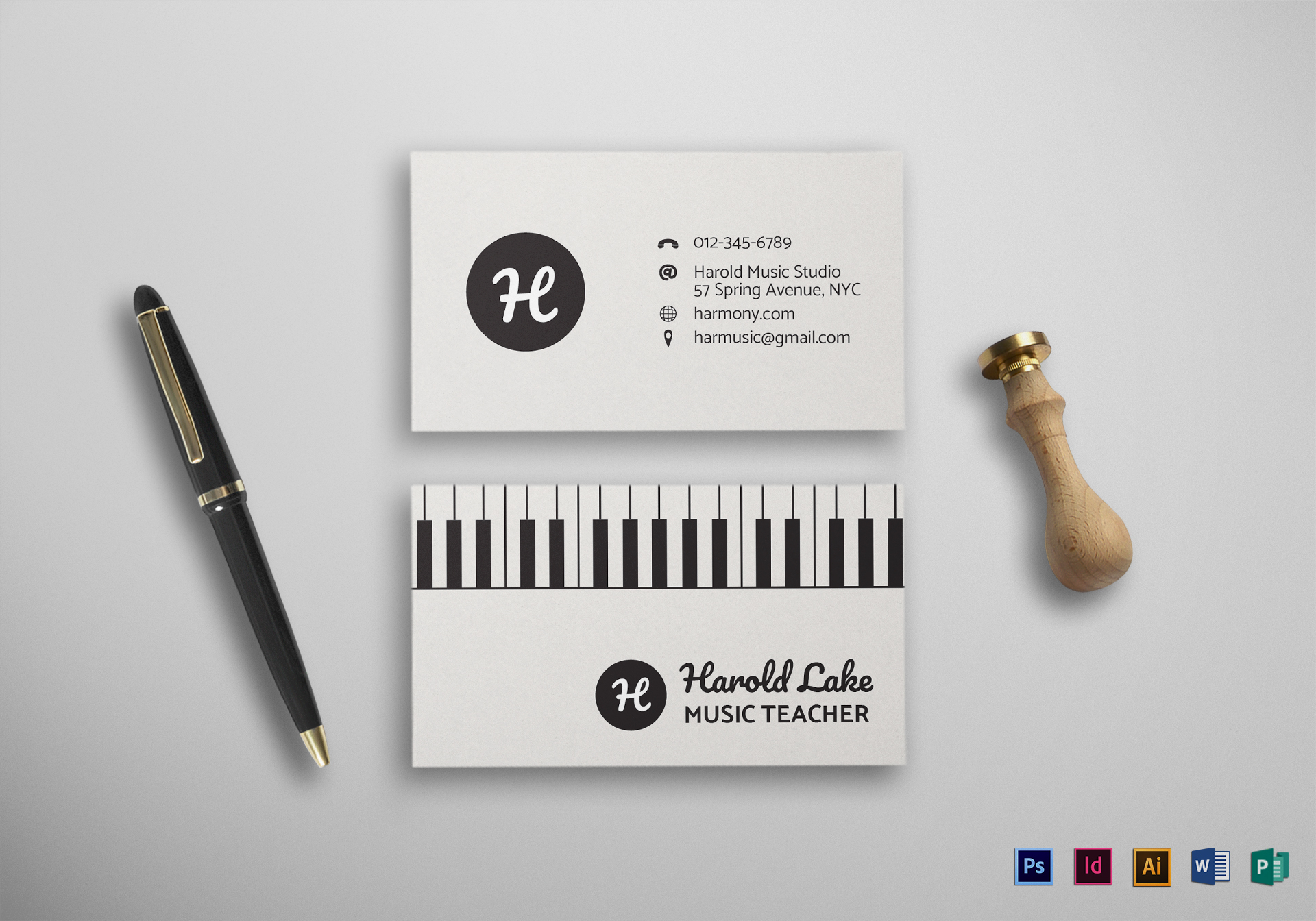 Music business card design template in psd word publisher music business card template friedricerecipe Images