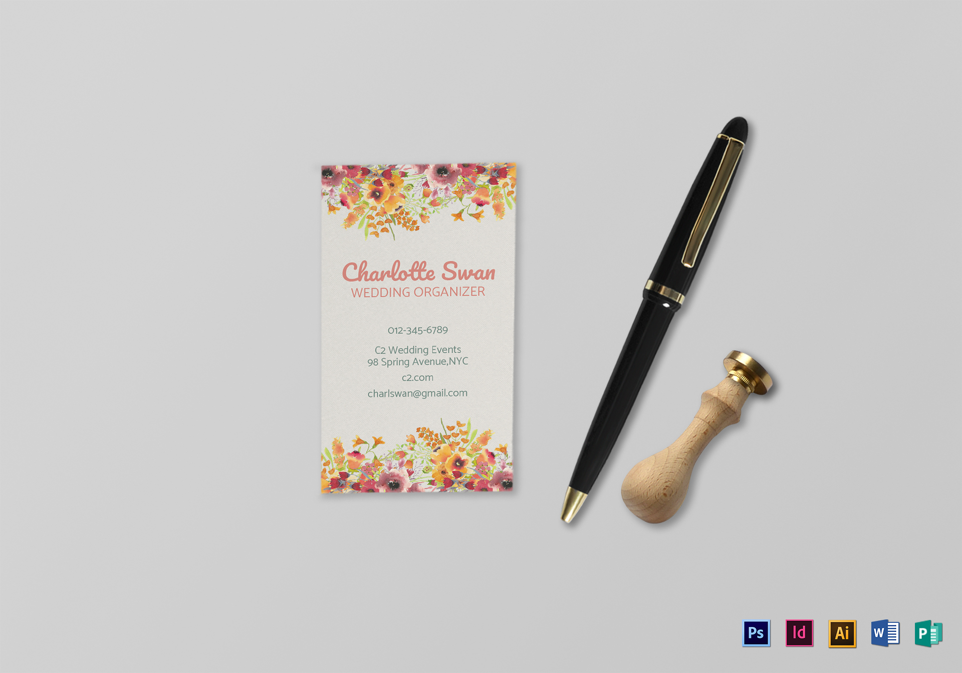Floral Business Card Design Template in PSD, Word, Publisher ...