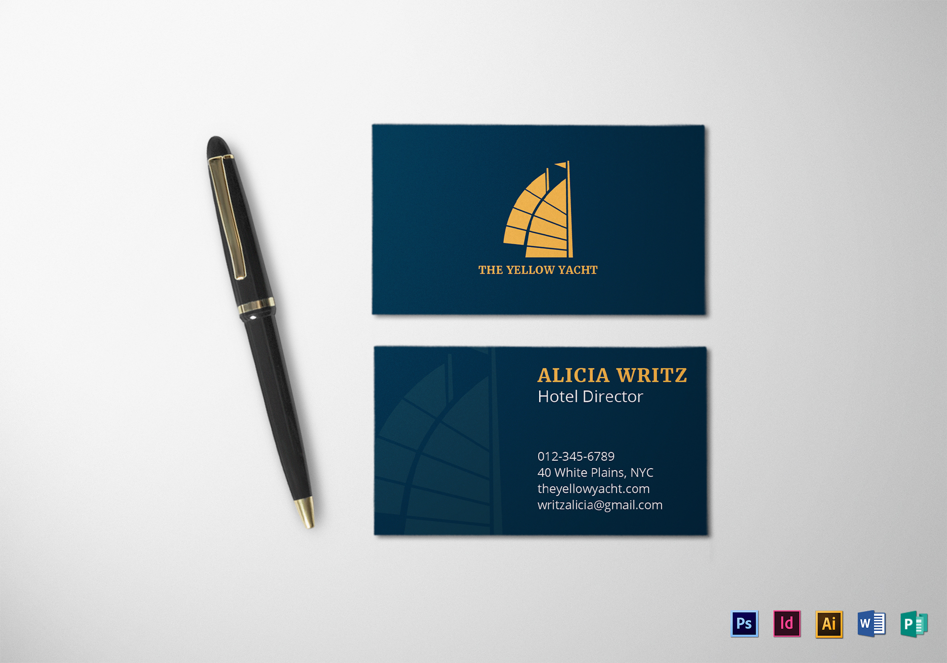 dark corporate business card design template in psd  word