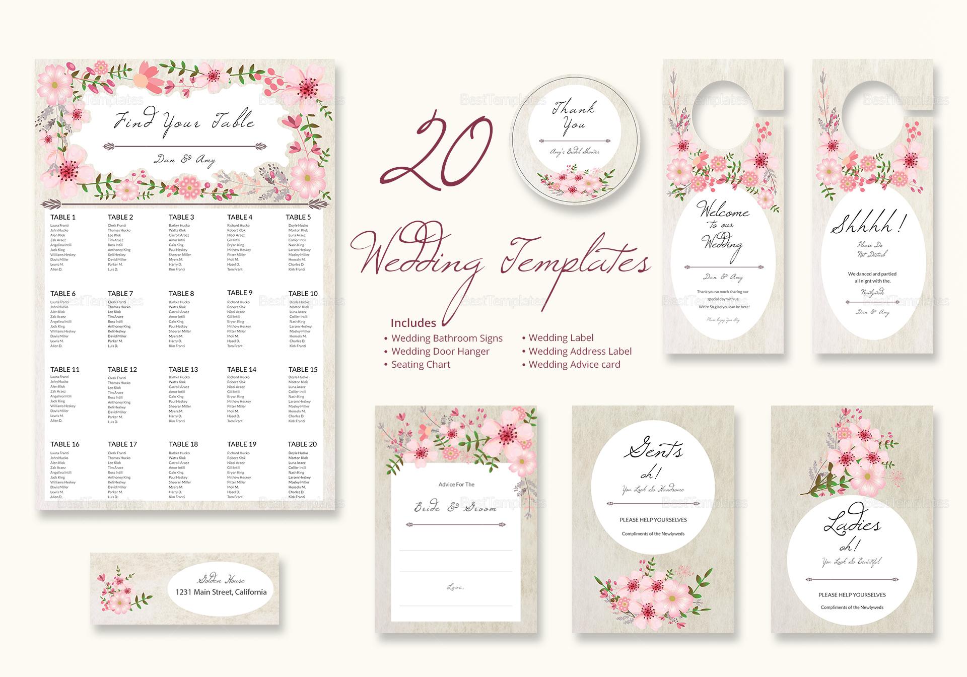 Pink Floral Wedding Templates