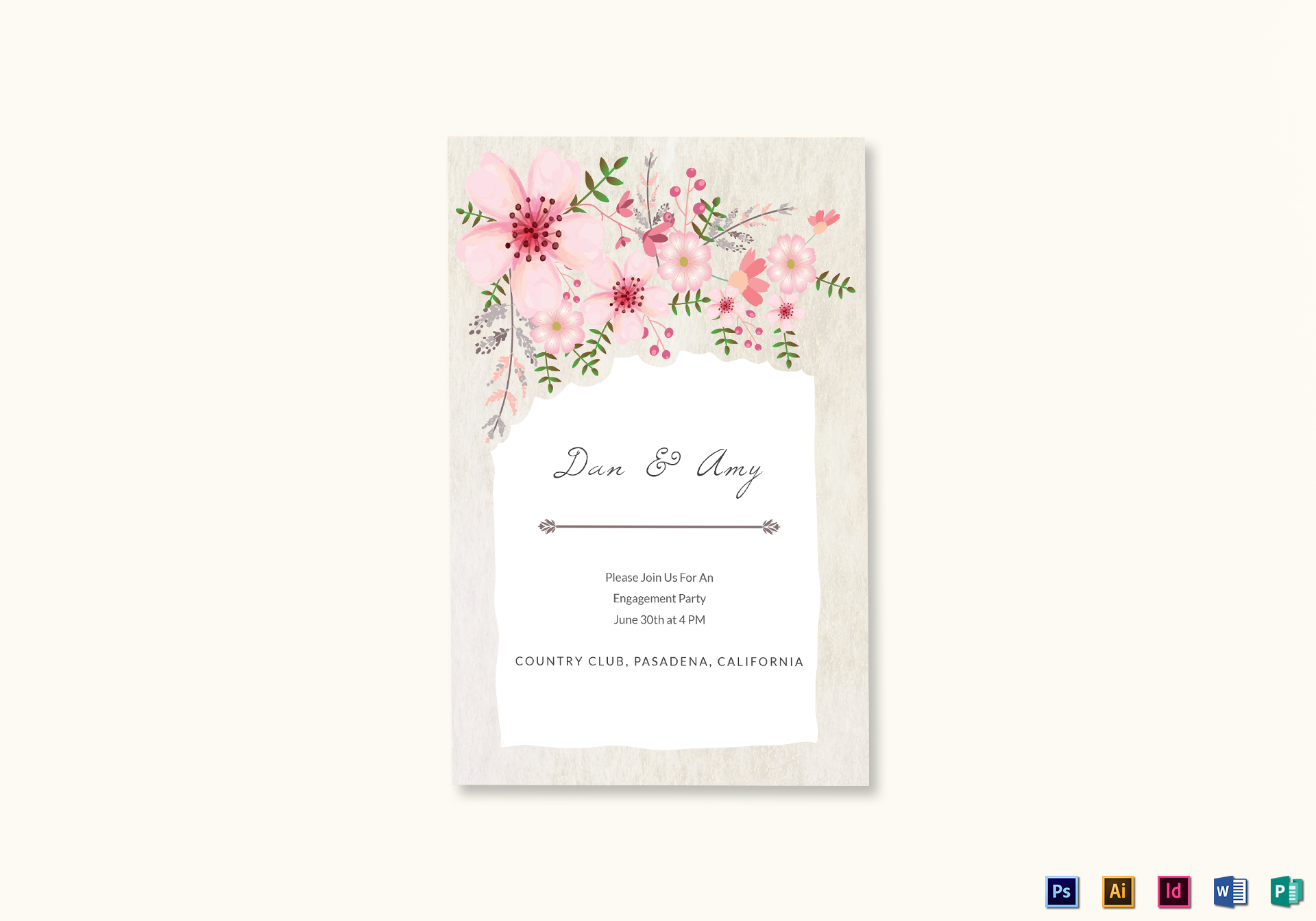 Brand-new Pink Floral Engagement Announcement Card Design Template in PSD  BE69