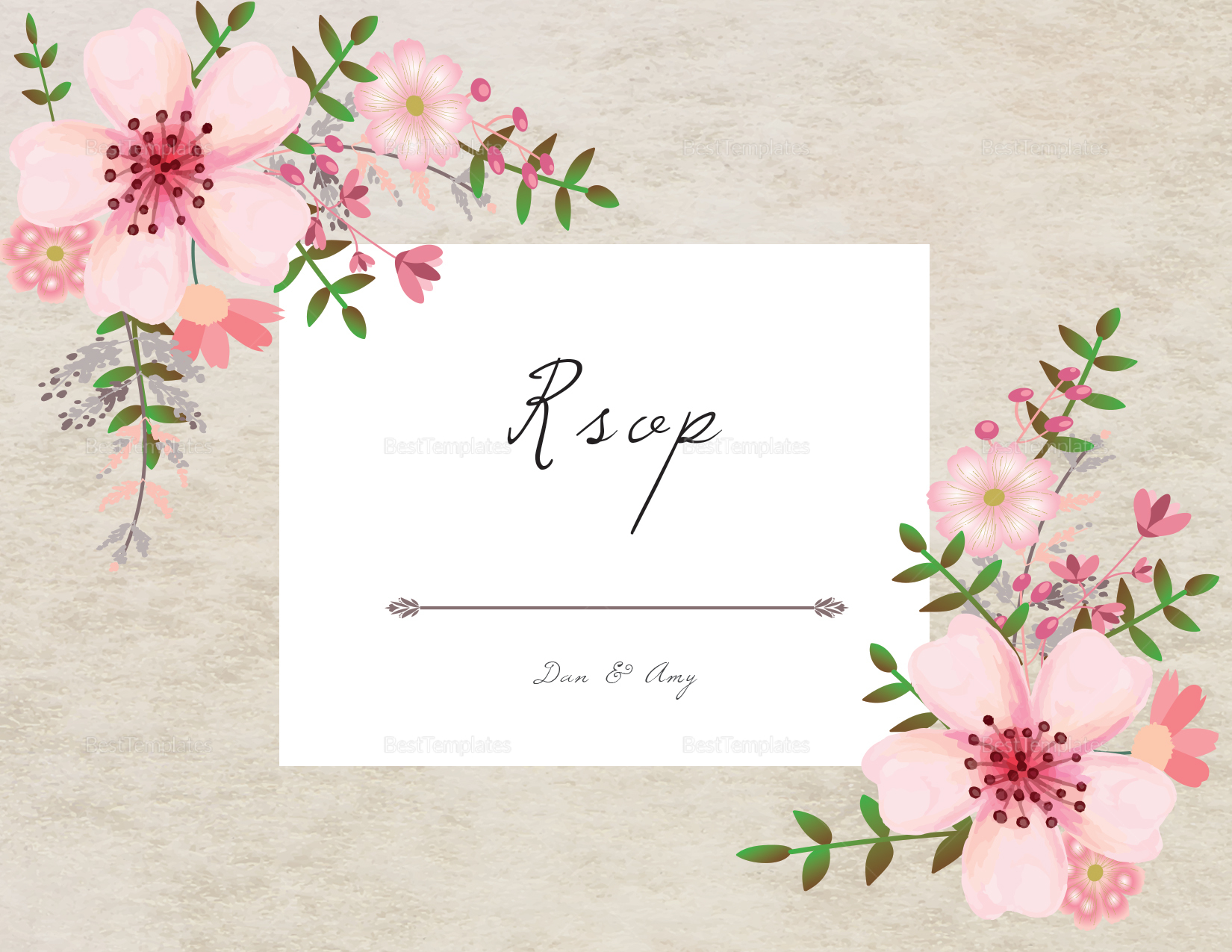 Pink Floral RSVP Card Design Template