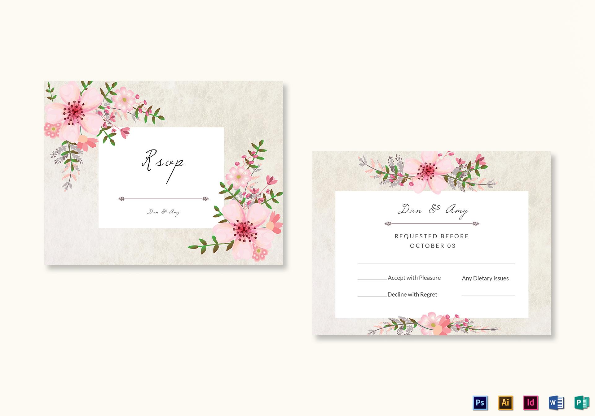 Pink Floral RSVP Card Template