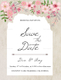 Pink Floral Save The Date Card Design Template