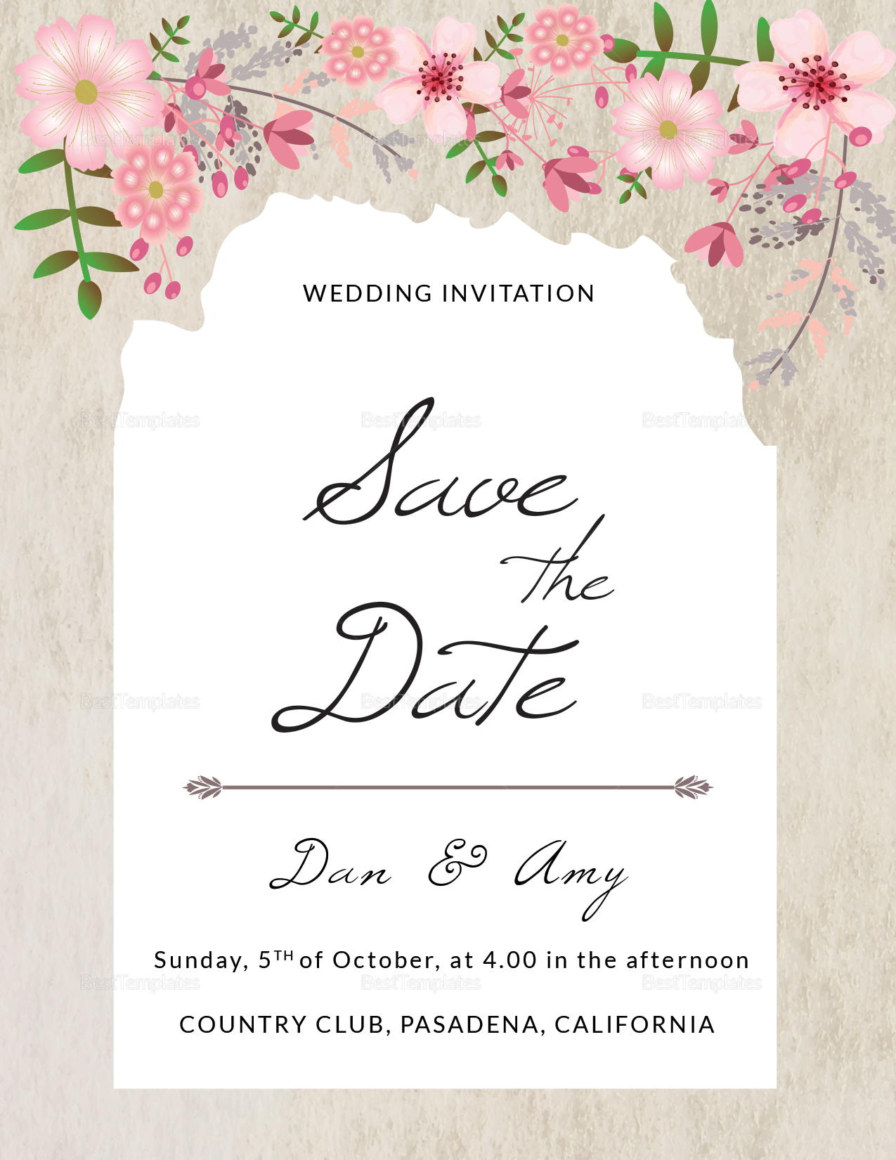 Pink floral save the date card design template in psd for Publisher save the date templates