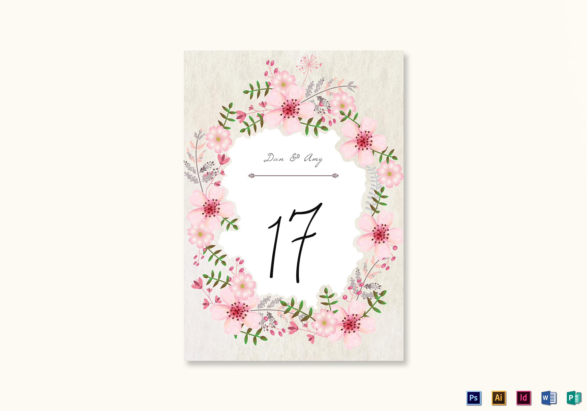 Pink Floral Table Card Template