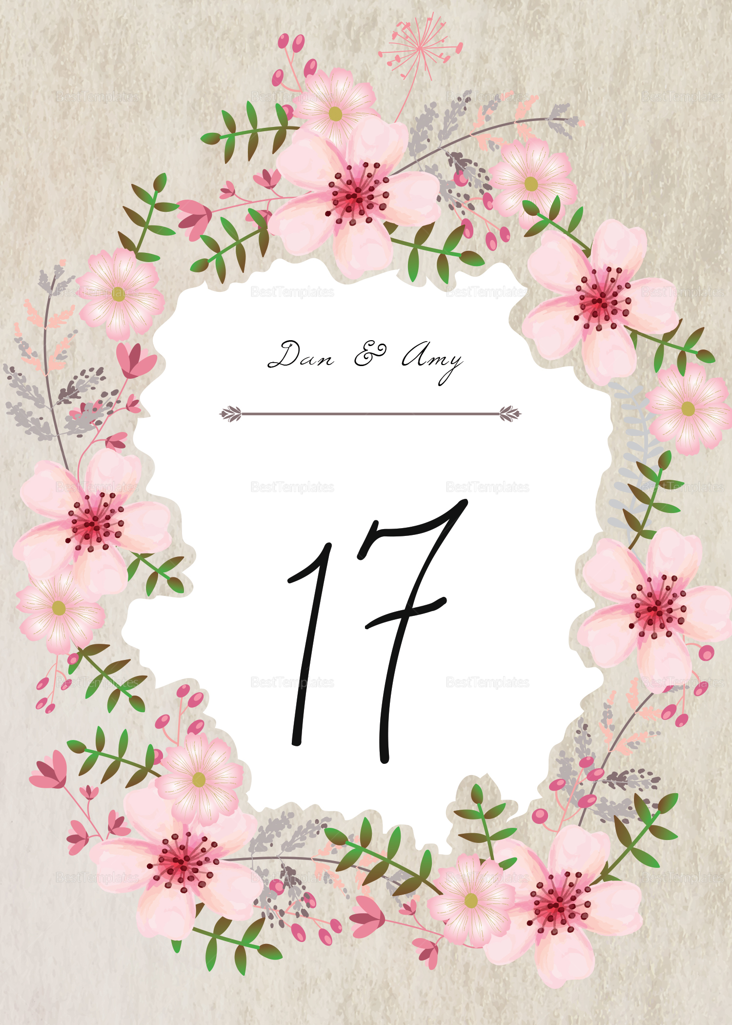 Pink Floral Table Card Design Template