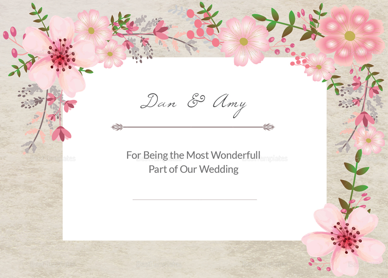 pink floral thank you card design template in psd word