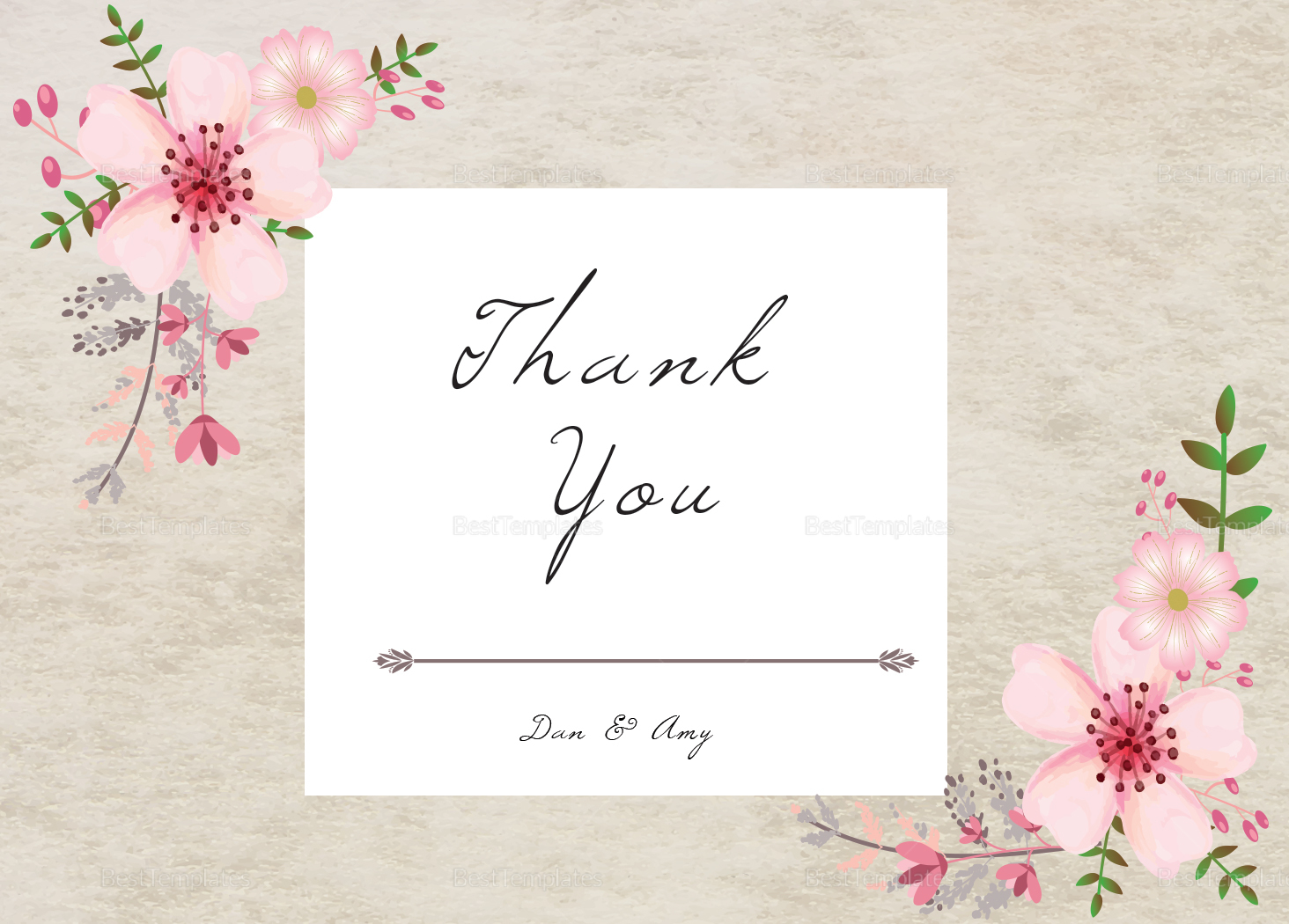 Pink Floral Thank You Card Design Template