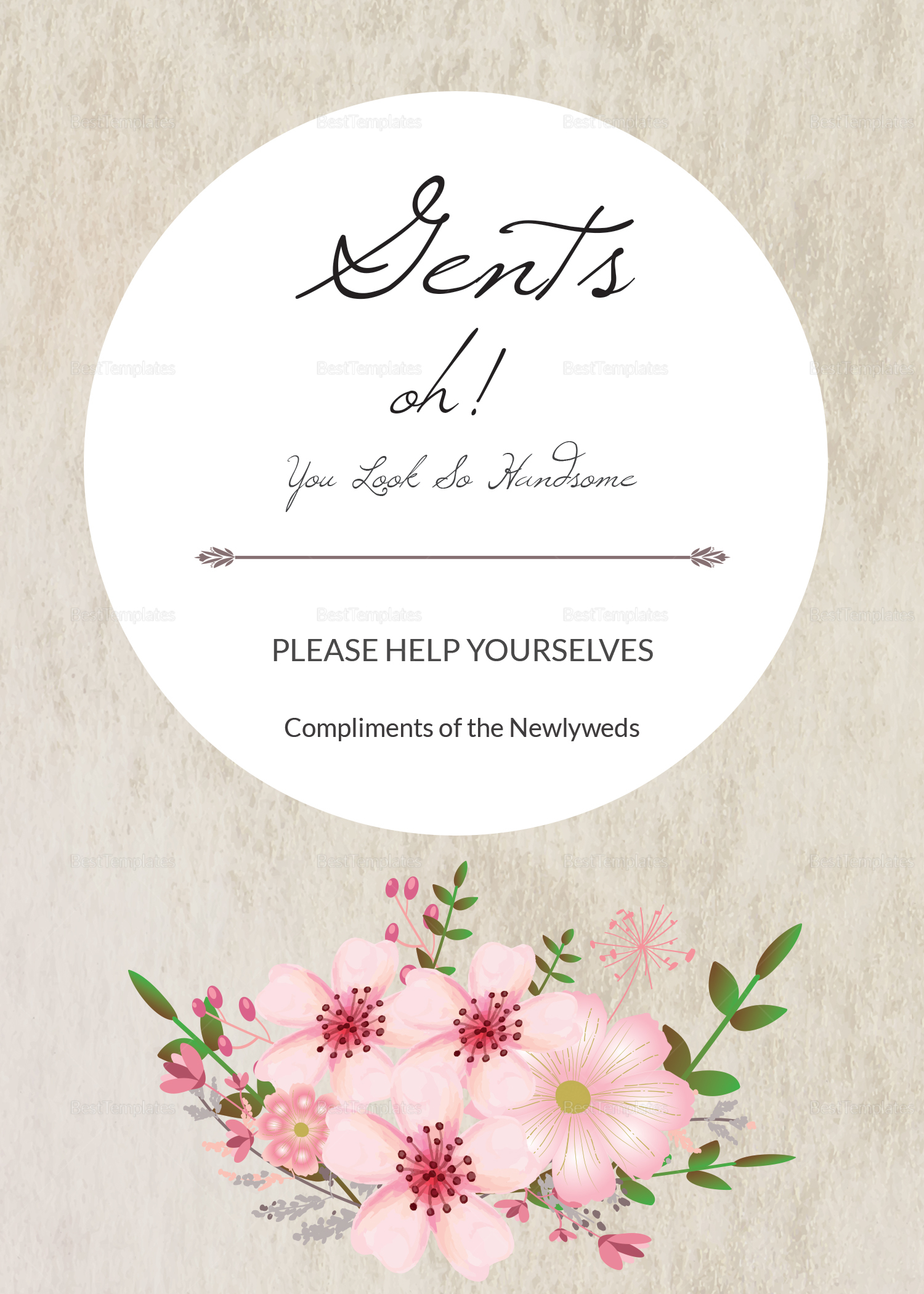 Pink Floral Wedding Bathroom Signs Card Design Template