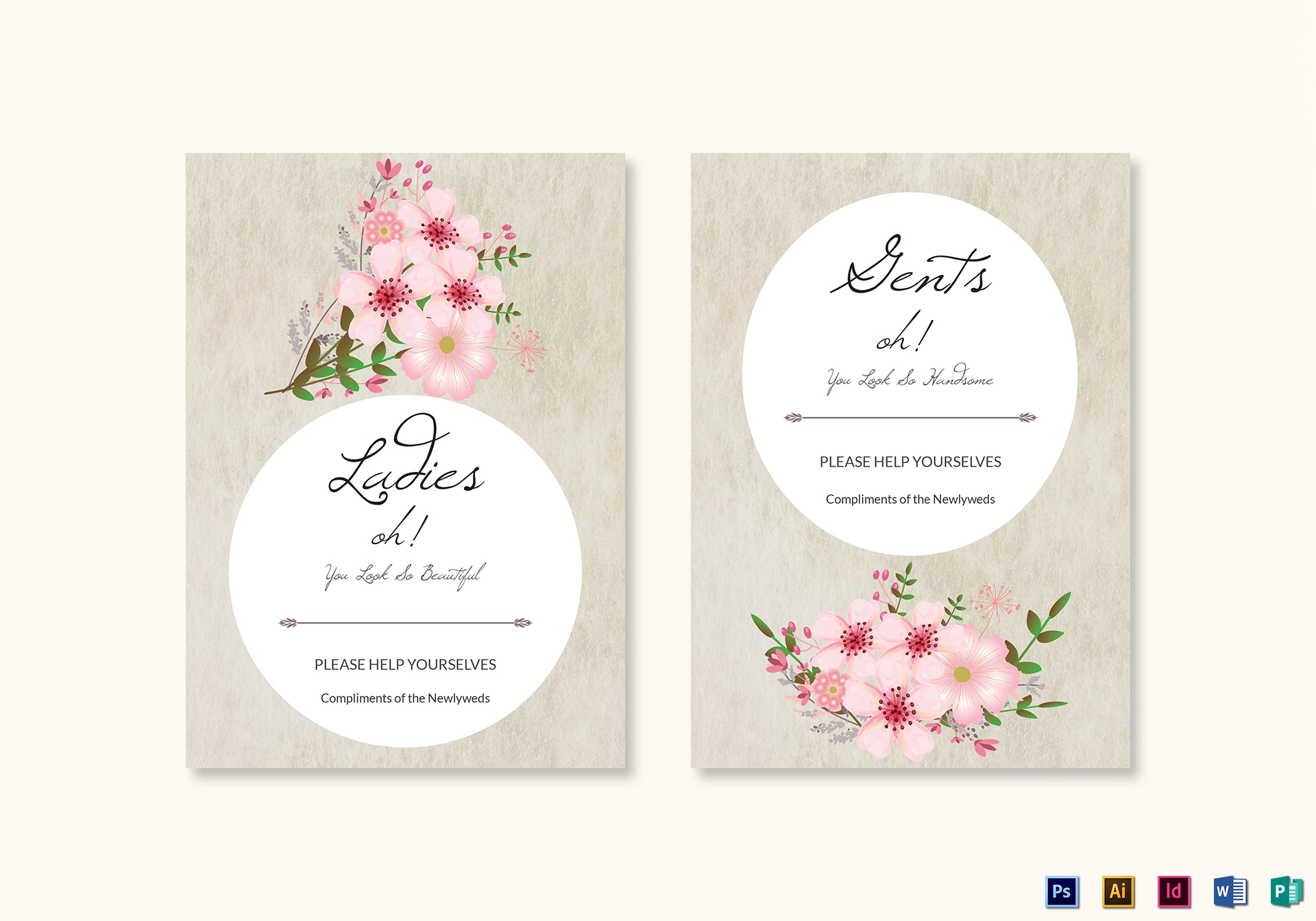 Pink Floral Wedding Bathroom Signs Card Template