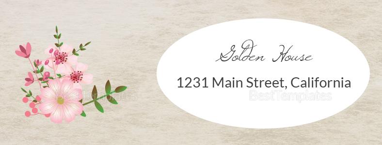 Pink Floral Wedding Address Labels Card Design Template