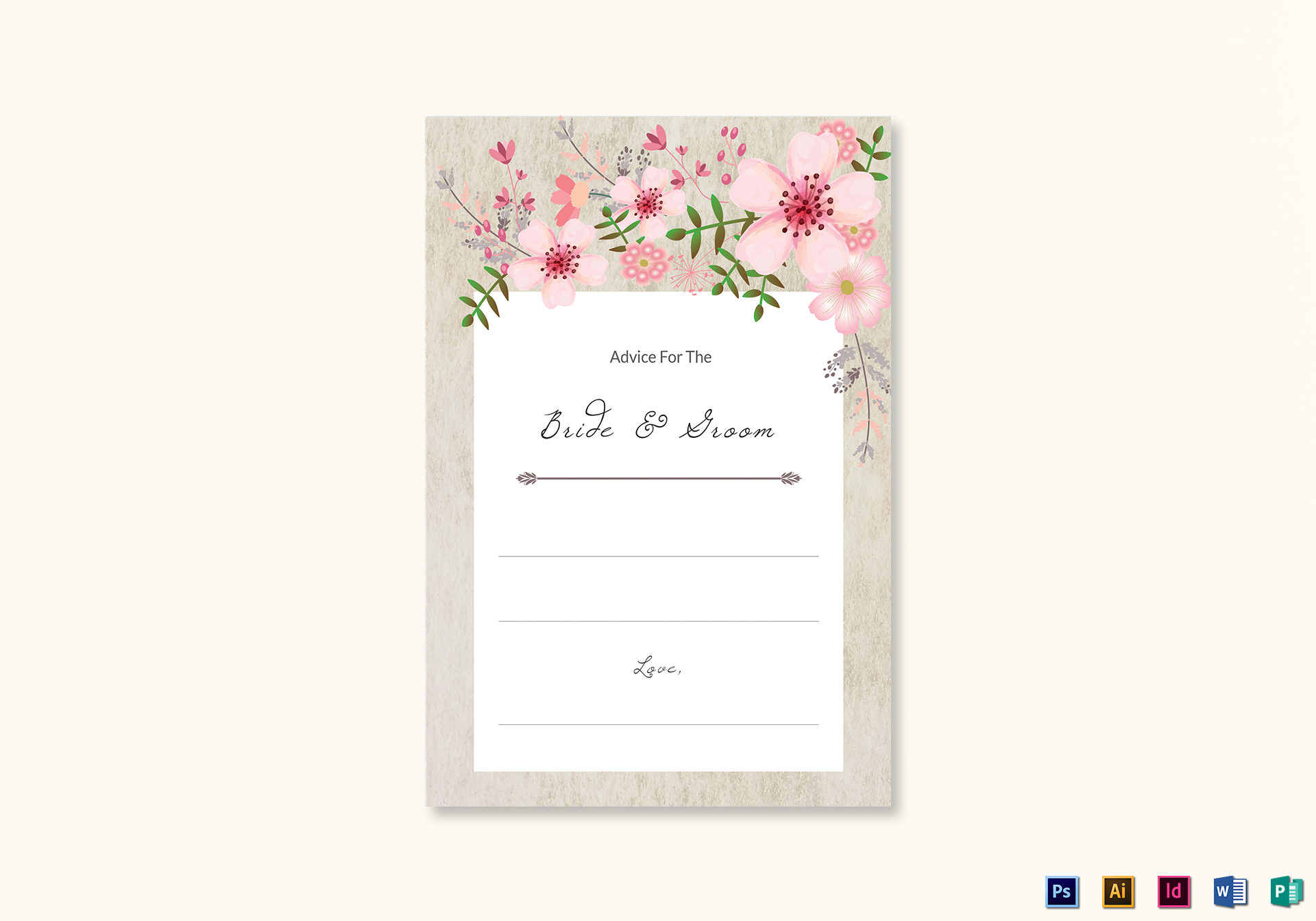 Pink Floral Wedding Advice Card Design Template In Psd Word