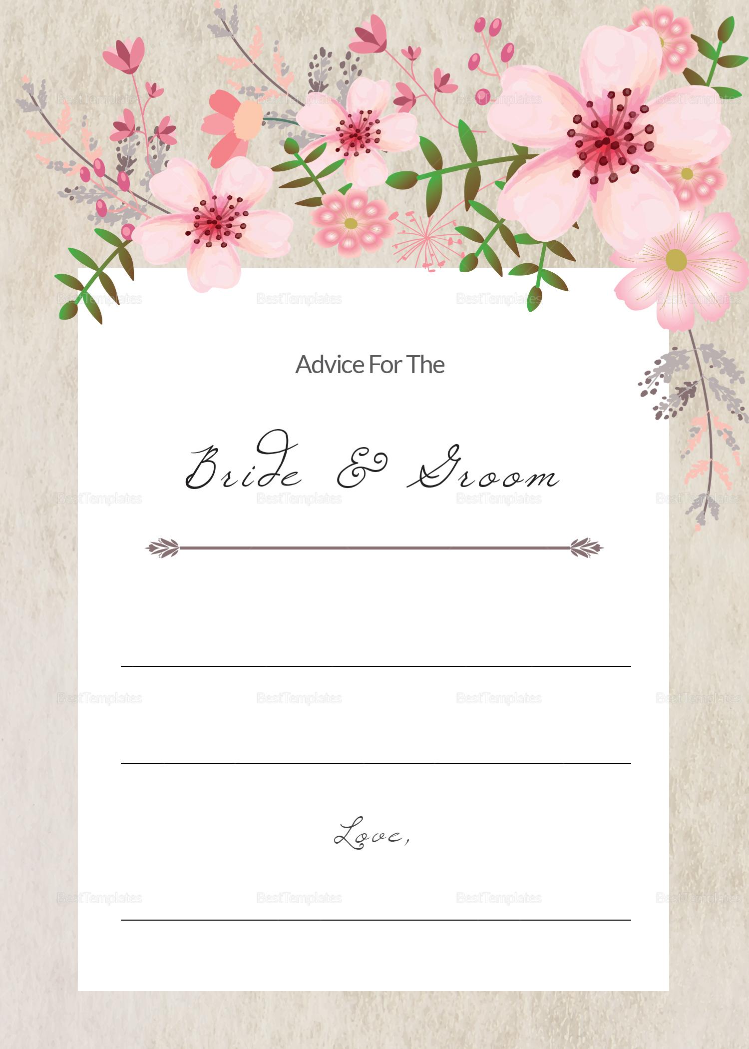 Pink Floral Wedding Advice Card Design Template