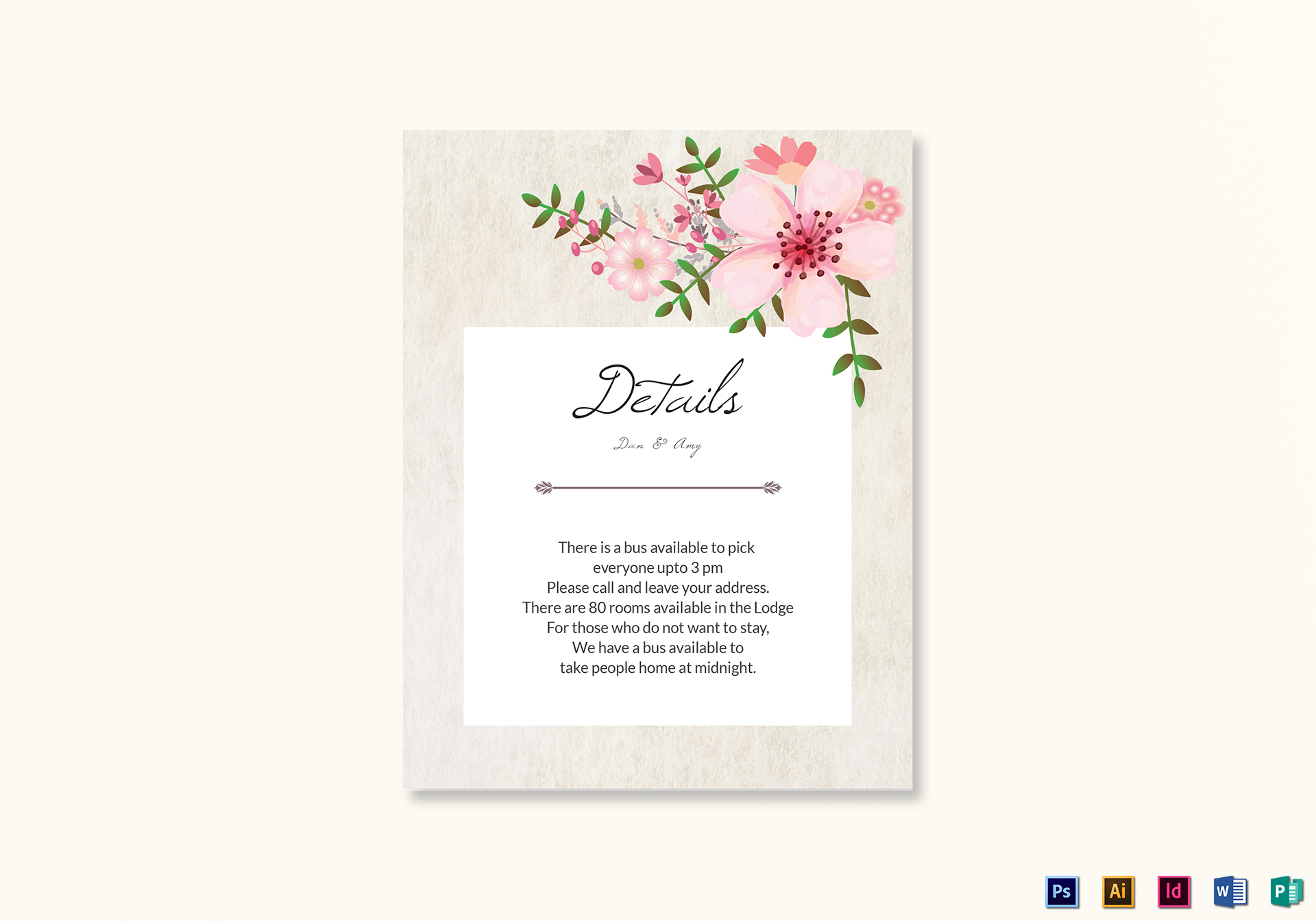pink floral wedding details card design template in psd word