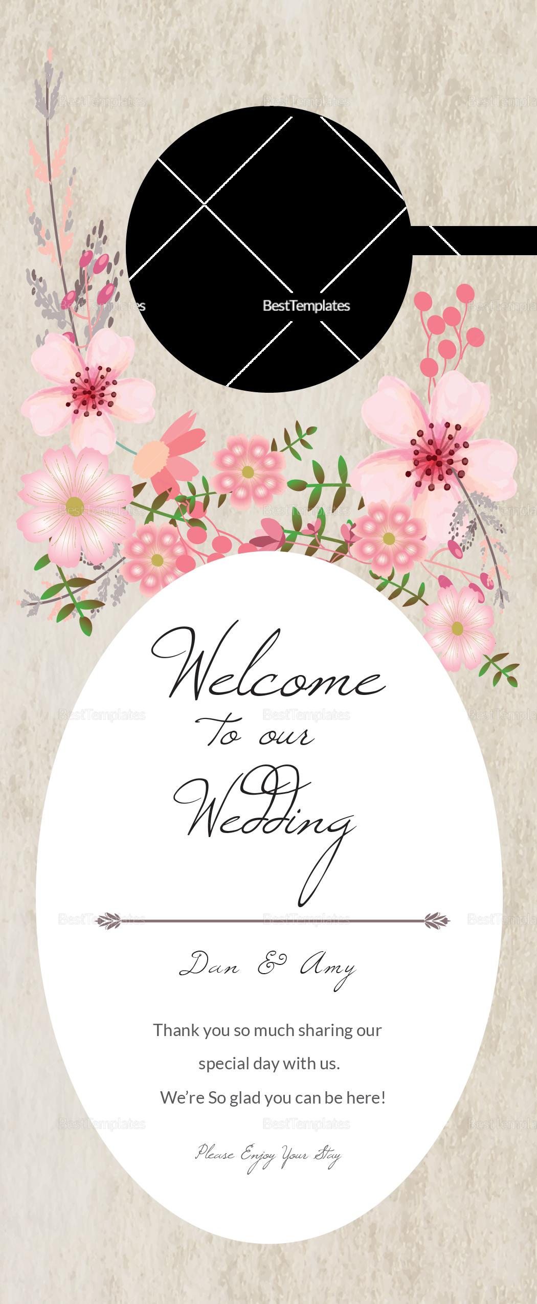 pink floral wedding door hanger design template in psd