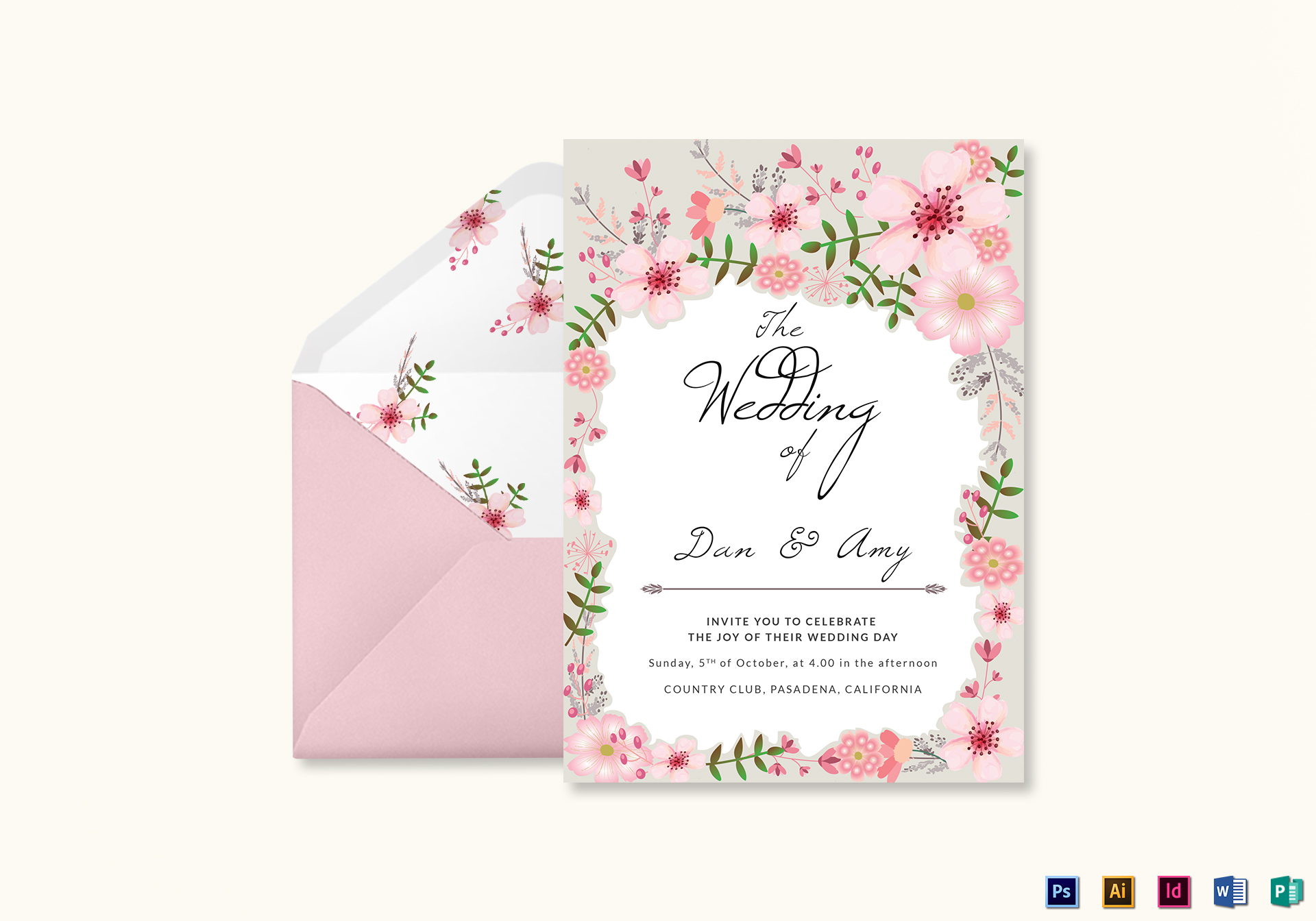 Pink Floral Wedding Invitation Card Design Template in PSD, Word ...