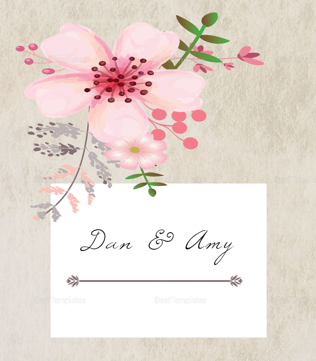 Pink Floral Wedding Place Card Design Template