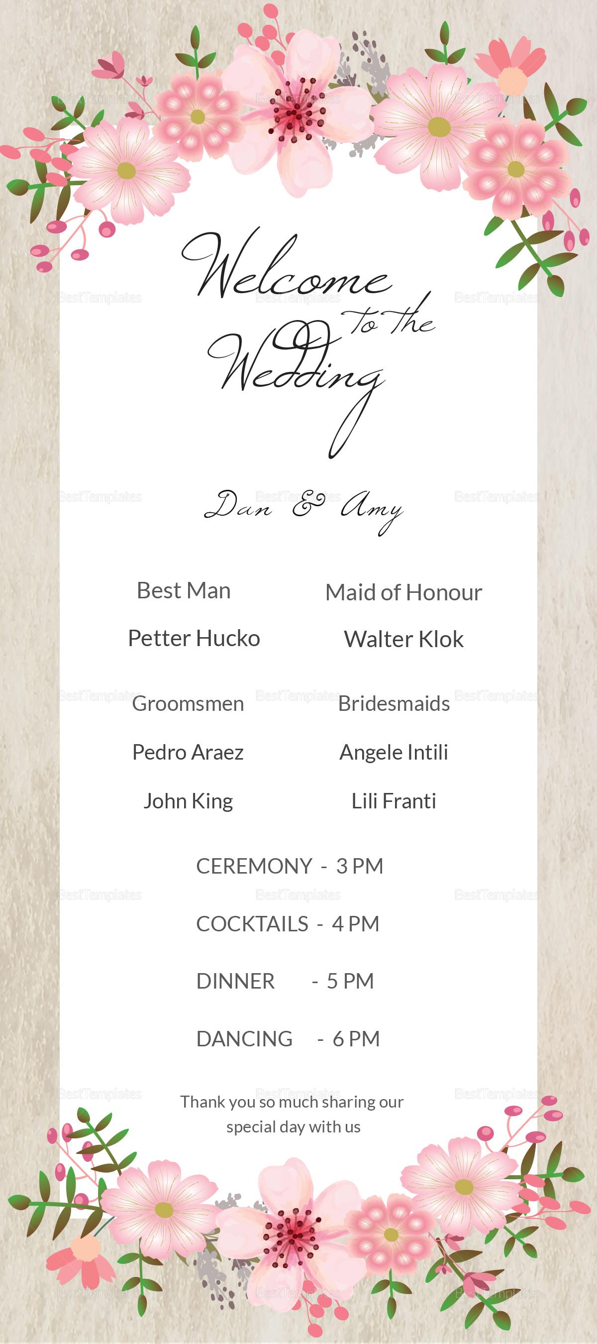 Pink Floral Wedding Program Card Design Template