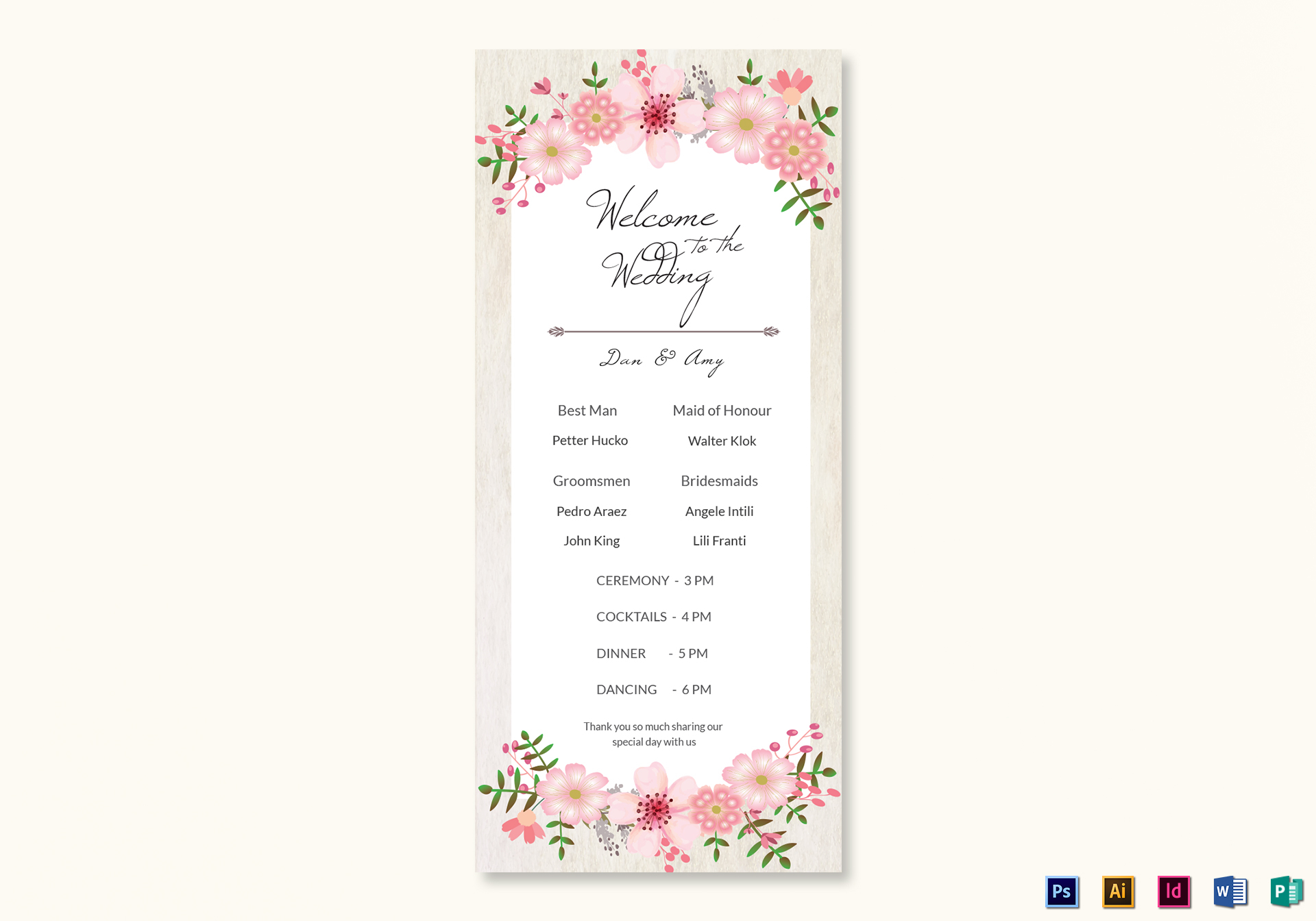 pink floral wedding program card design template in psd word
