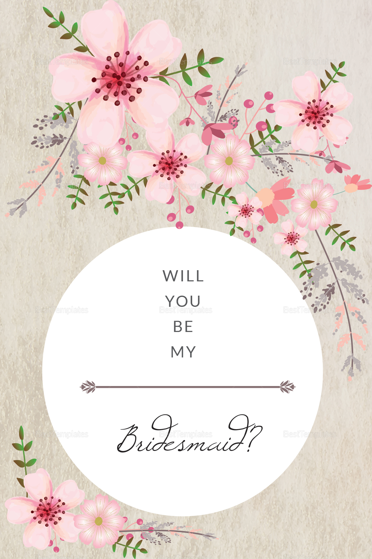 Pink Floral Will You Be My Bridesmaid Card Design Template