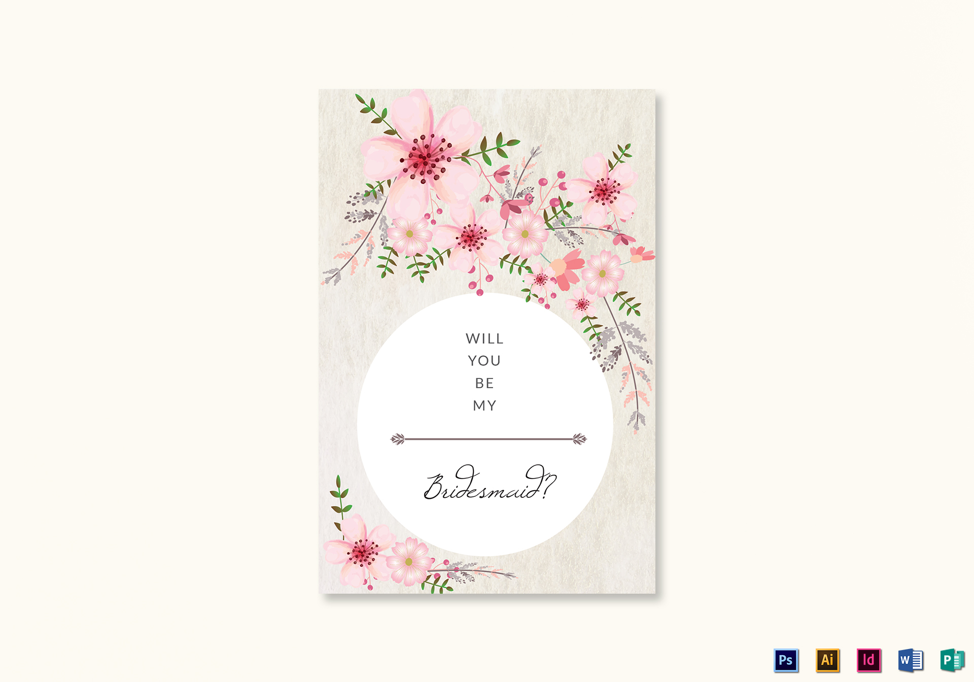 Pink Floral Will You Be My Bridesmaid Card Template