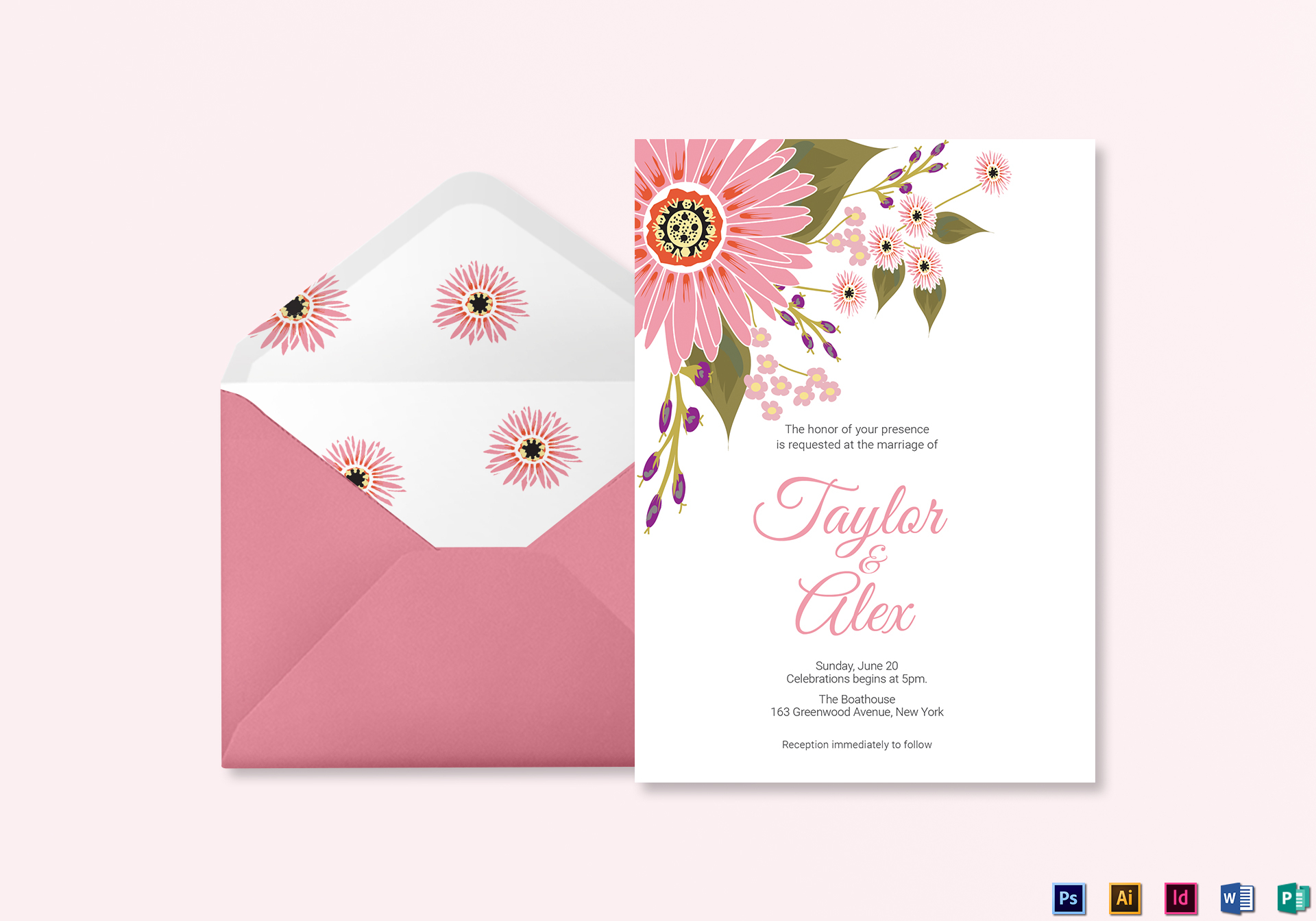 Floral Wedding Invitation Card Template
