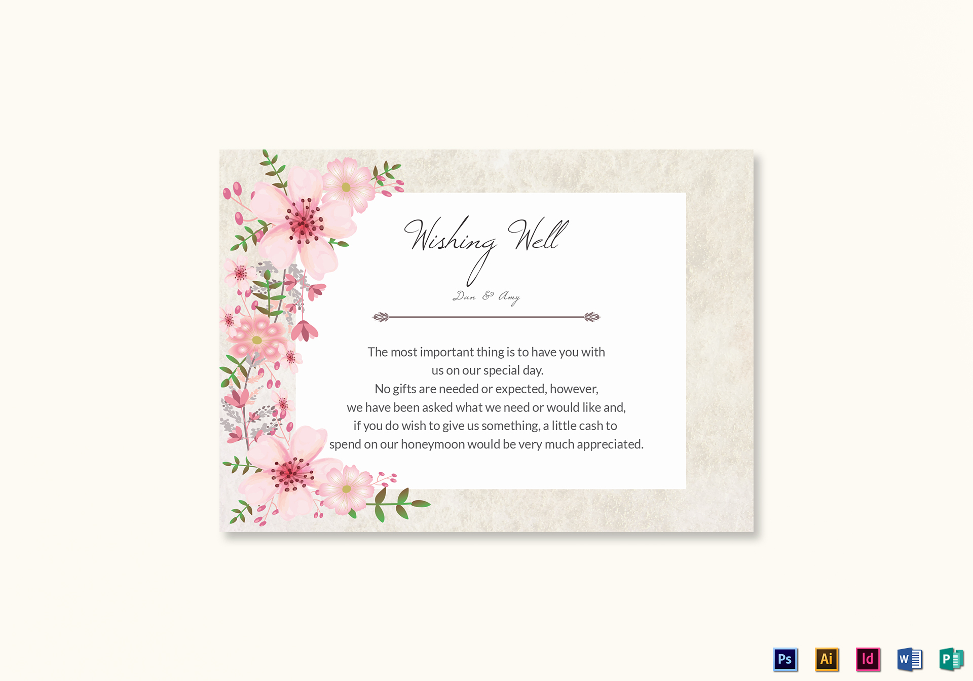 Pink Fl Wishing Well Card Template