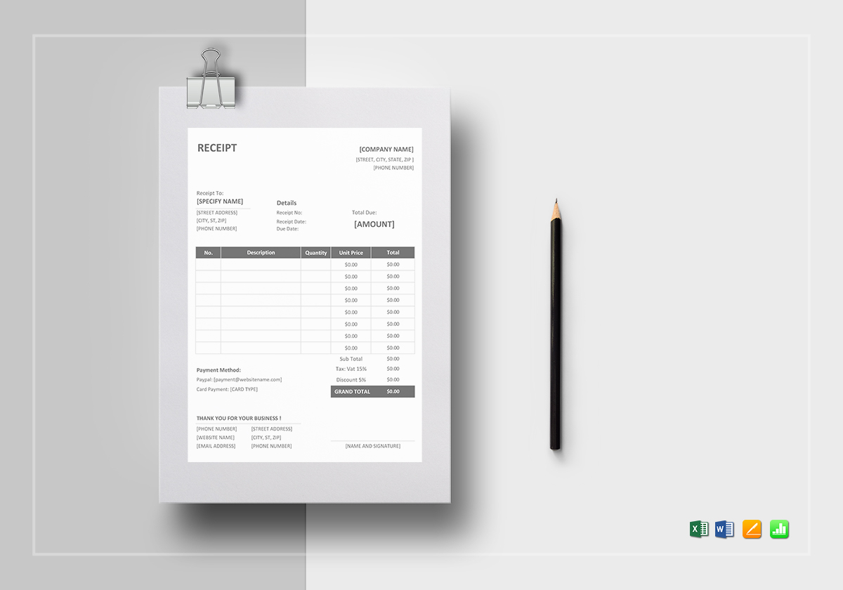printable receipt template in word excel apple pages numbers printable receipt template