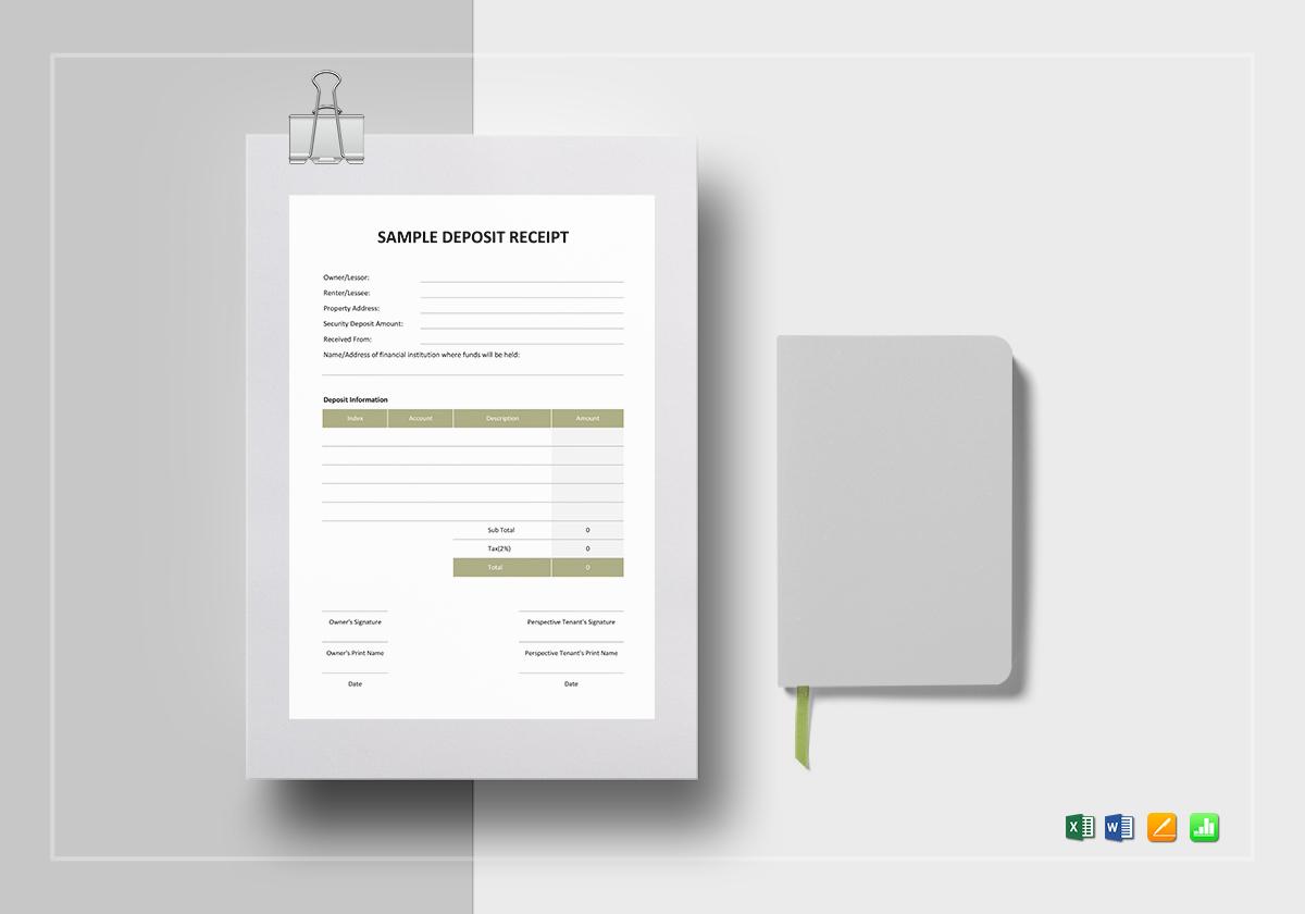 Blank Deposit Receipt Template In Word Excel Apple Pages Numbers