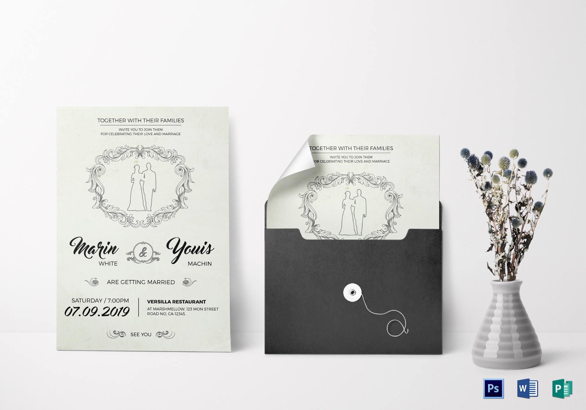 modern wedding invitation design template in word psd publisher