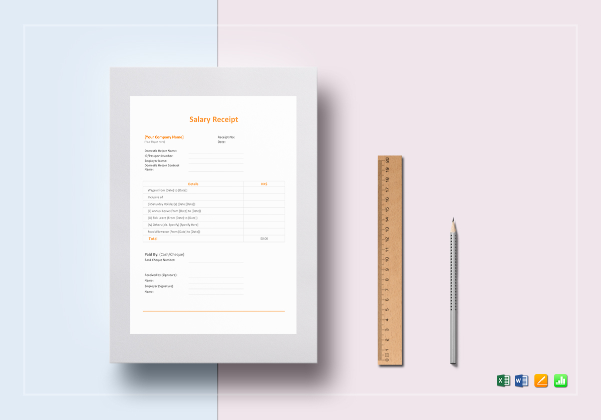 salary receipt template in word excel apple pages numbers salary receipt template