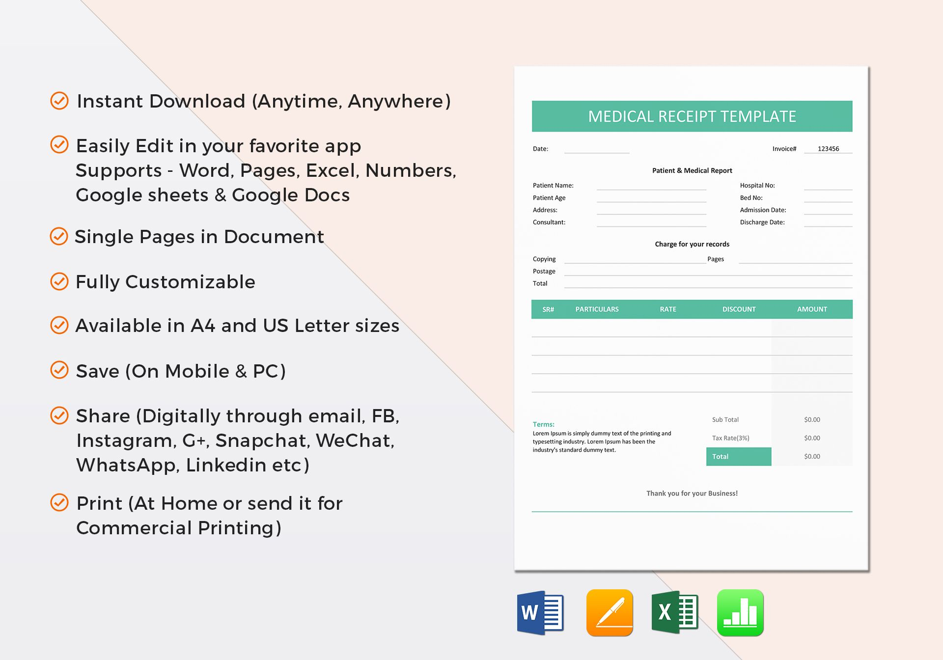 Medical receipt template in word excel apple pages numbers maxwellsz