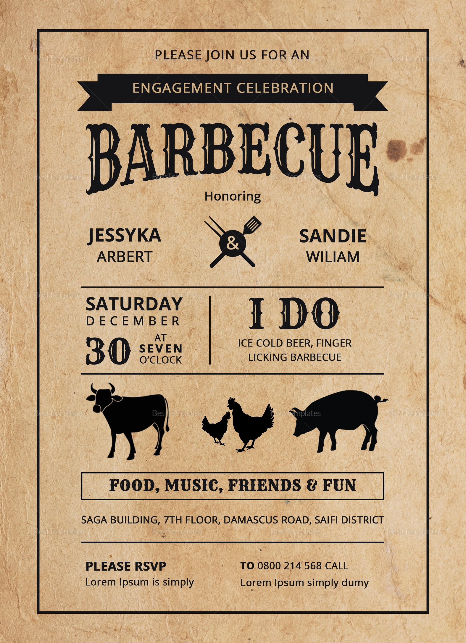 BBQ Engagement Party Invitation Design Template
