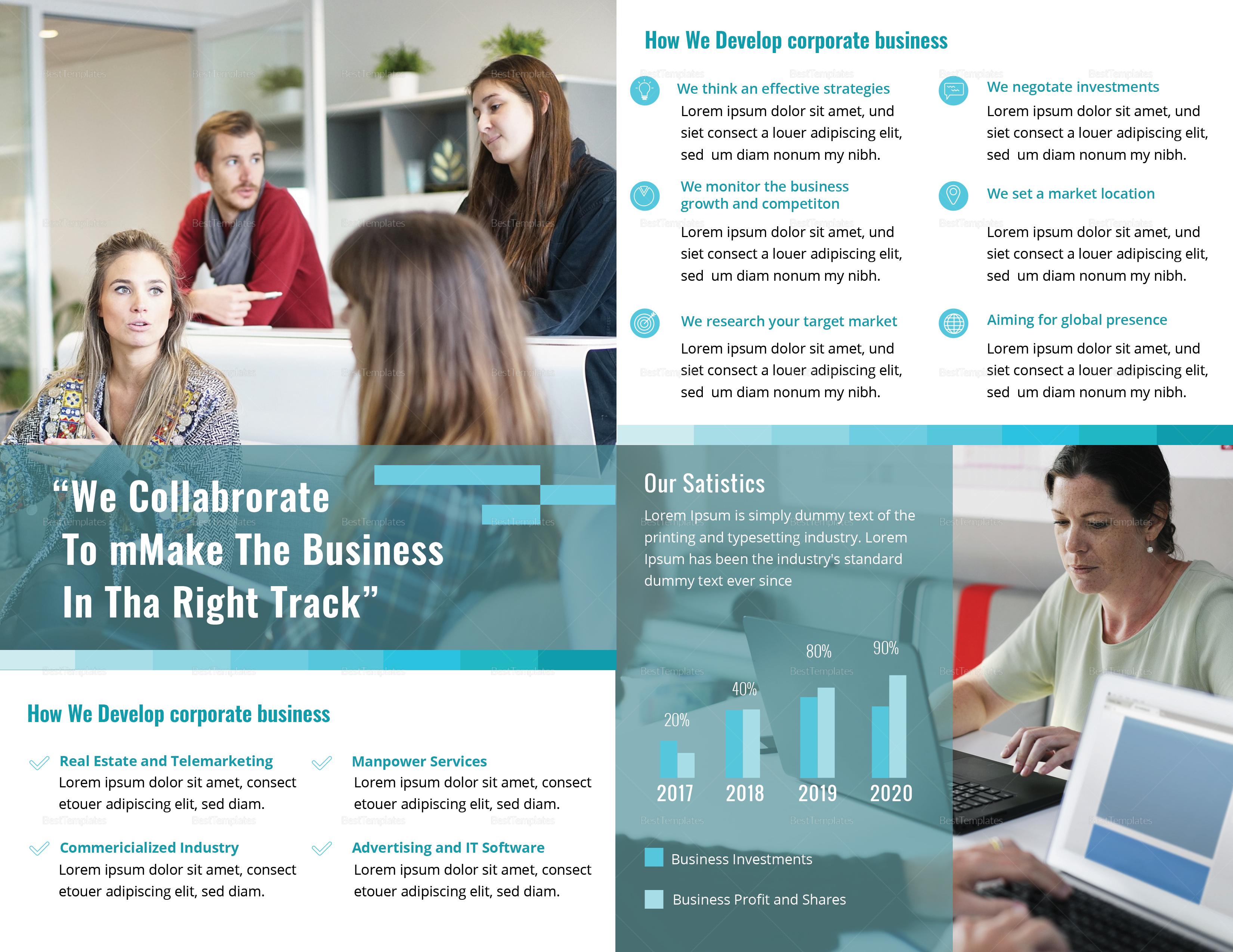 Bi-Fold Business Corporate Brochure Template