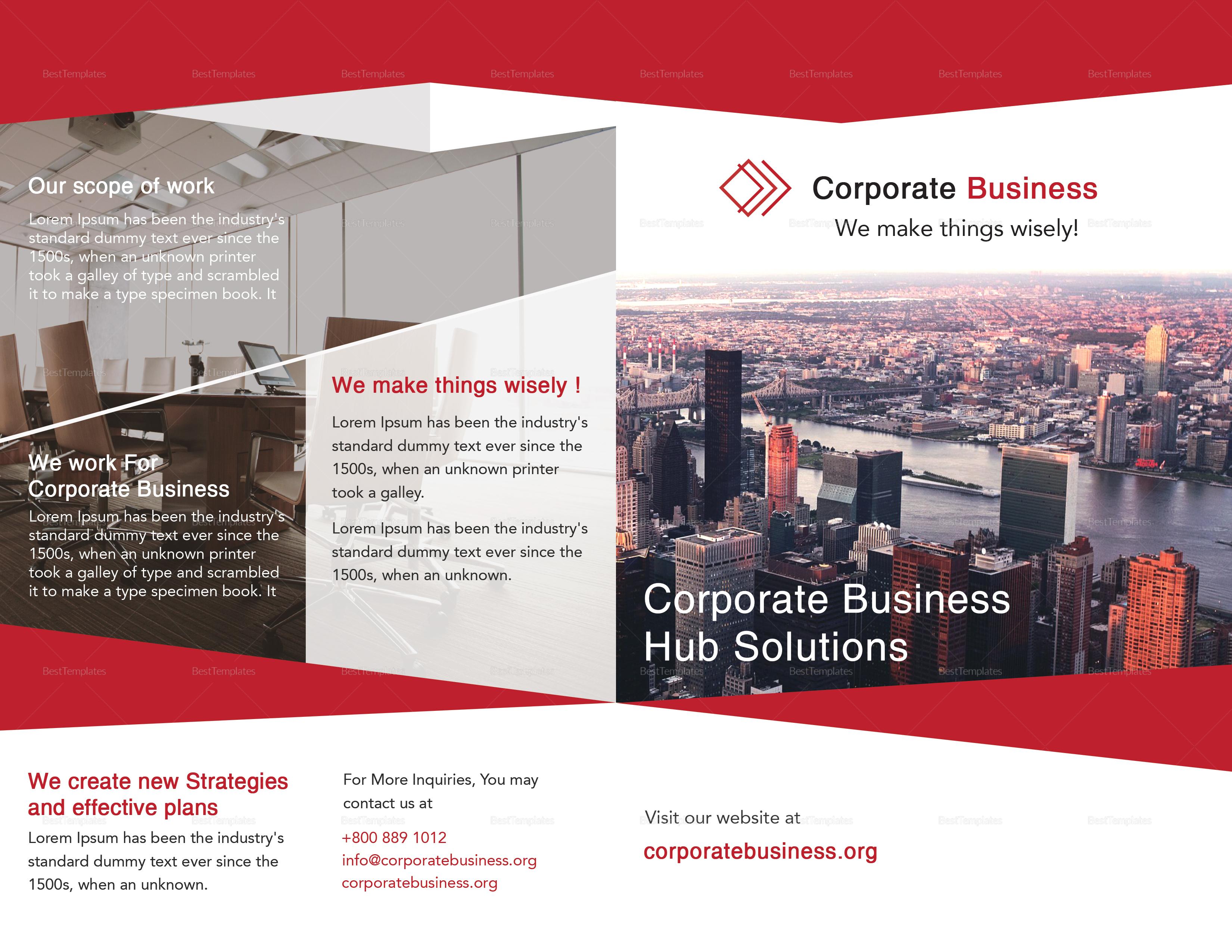 Bi-Fold Corporate Business Brochure Design Template
