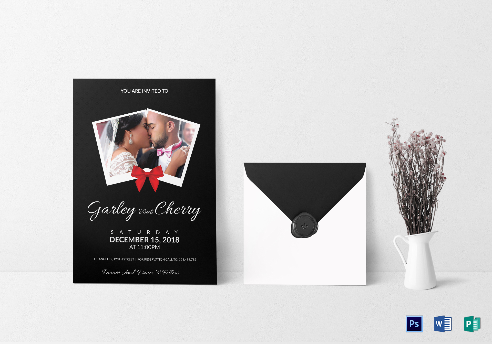Modern Wedding Invitation Card Design Template in Word, PSD, Publisher