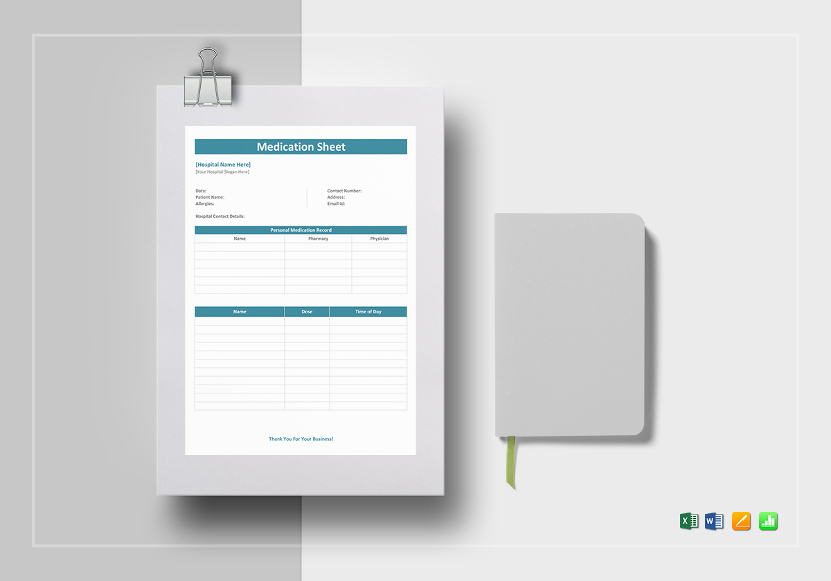 Medication Sheet Template In Word Excel Apple Pages Numbers