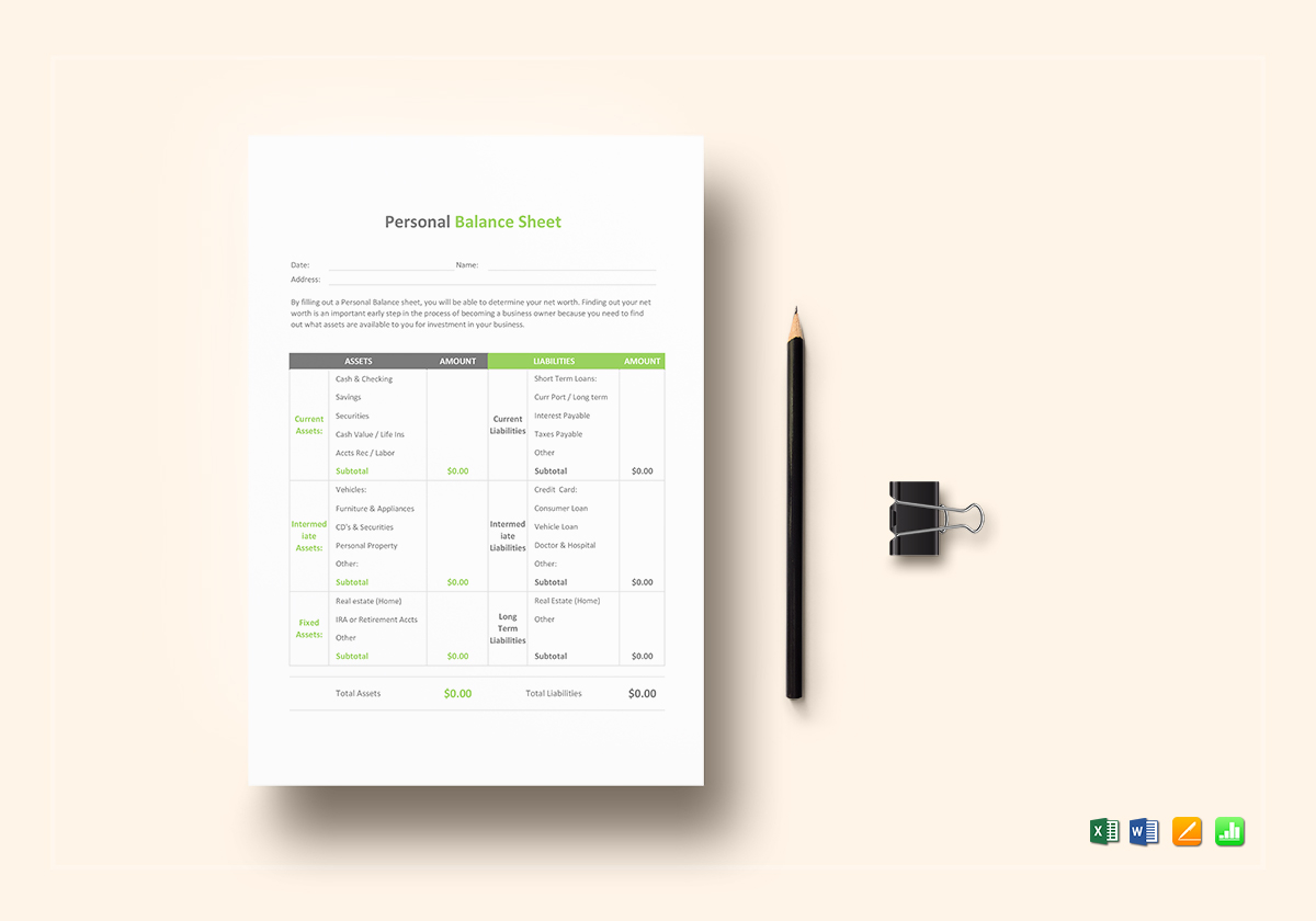 personal balance sheet template in word excel apple